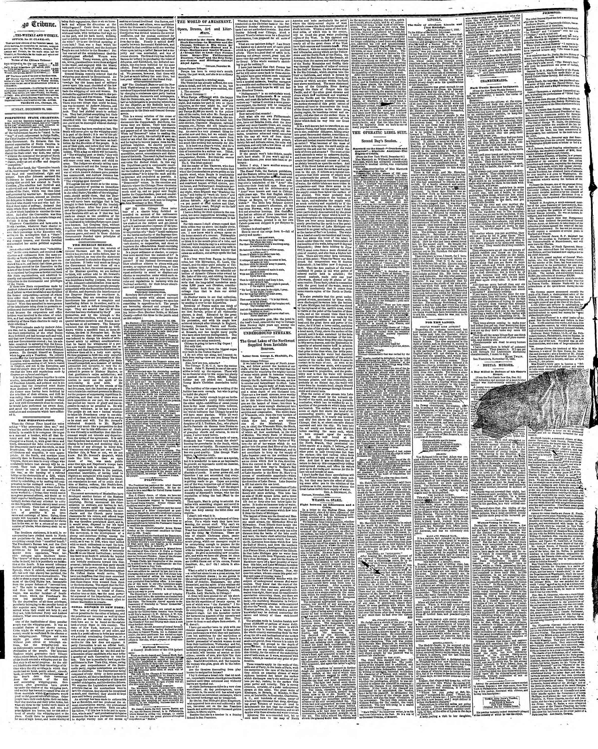 Newspaper of The Chicago Tribune dated December 23, 1866 Page 2