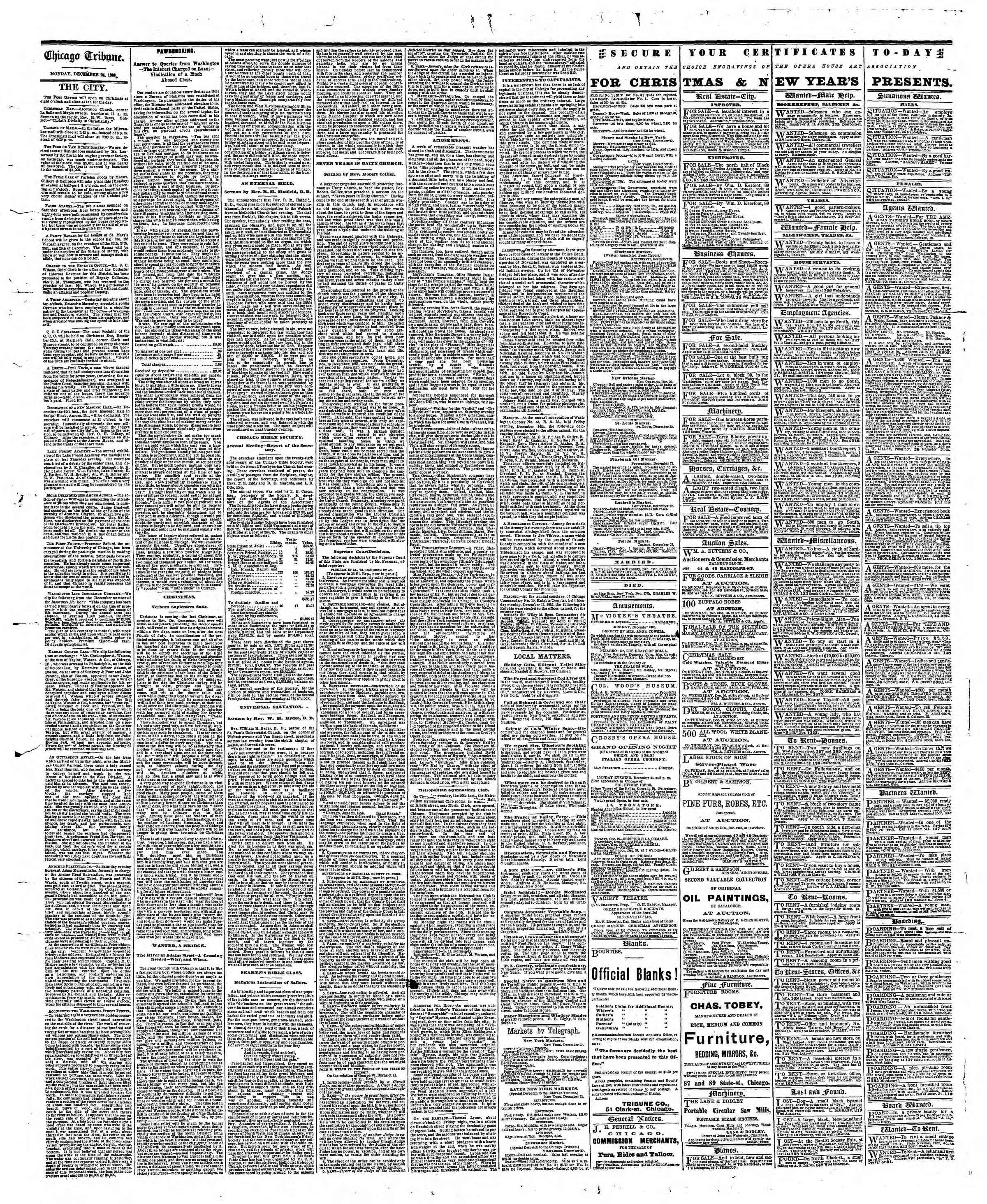 Newspaper of The Chicago Tribune dated December 24, 1866 Page 4