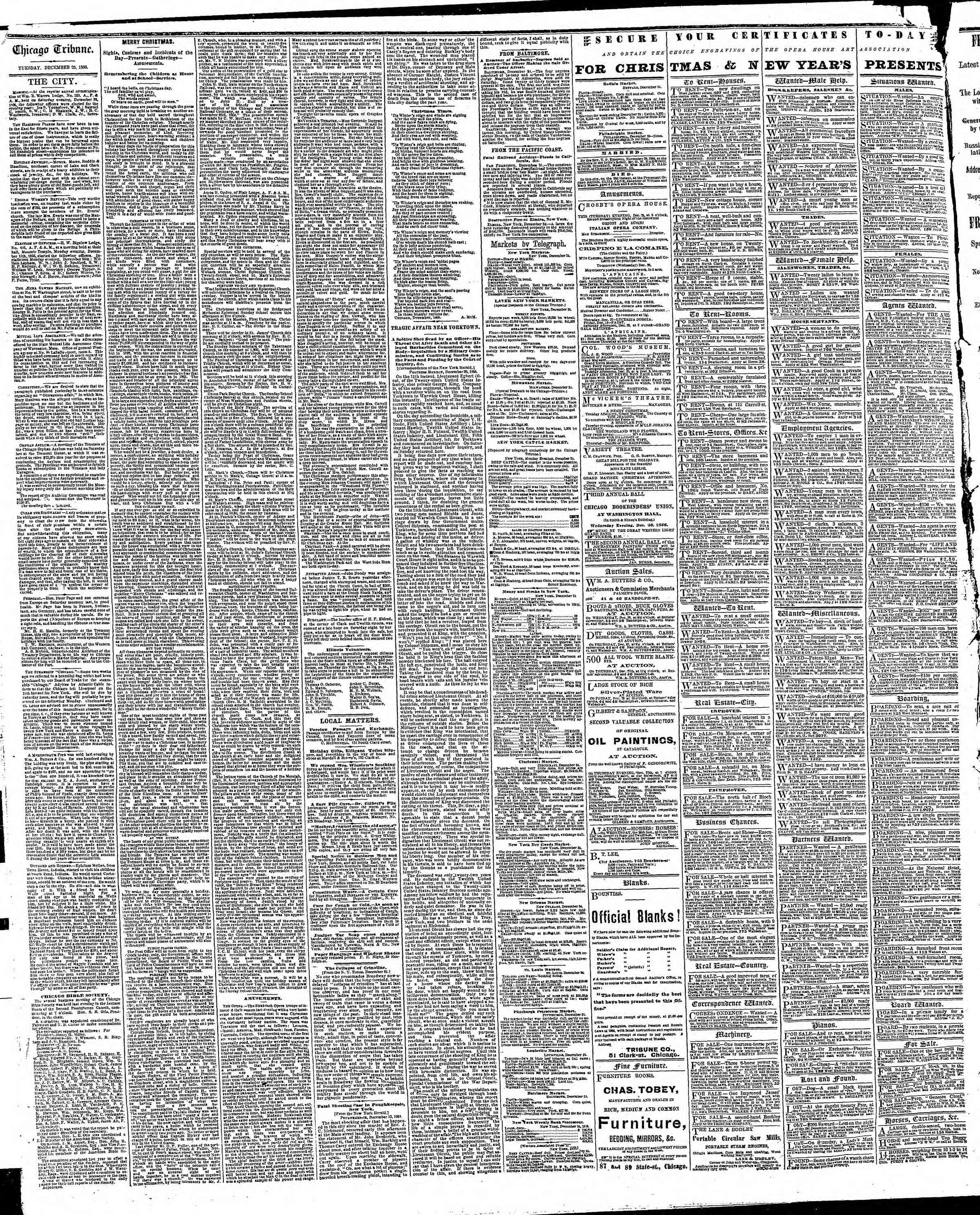 Newspaper of The Chicago Tribune dated December 25, 1866 Page 4