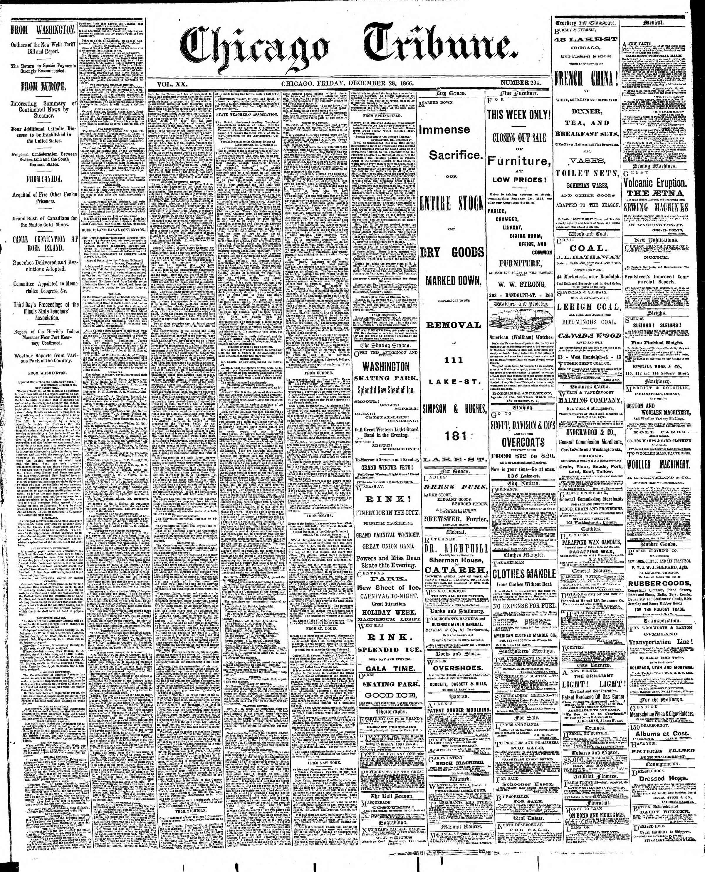 Newspaper of The Chicago Tribune dated December 28, 1866 Page 1