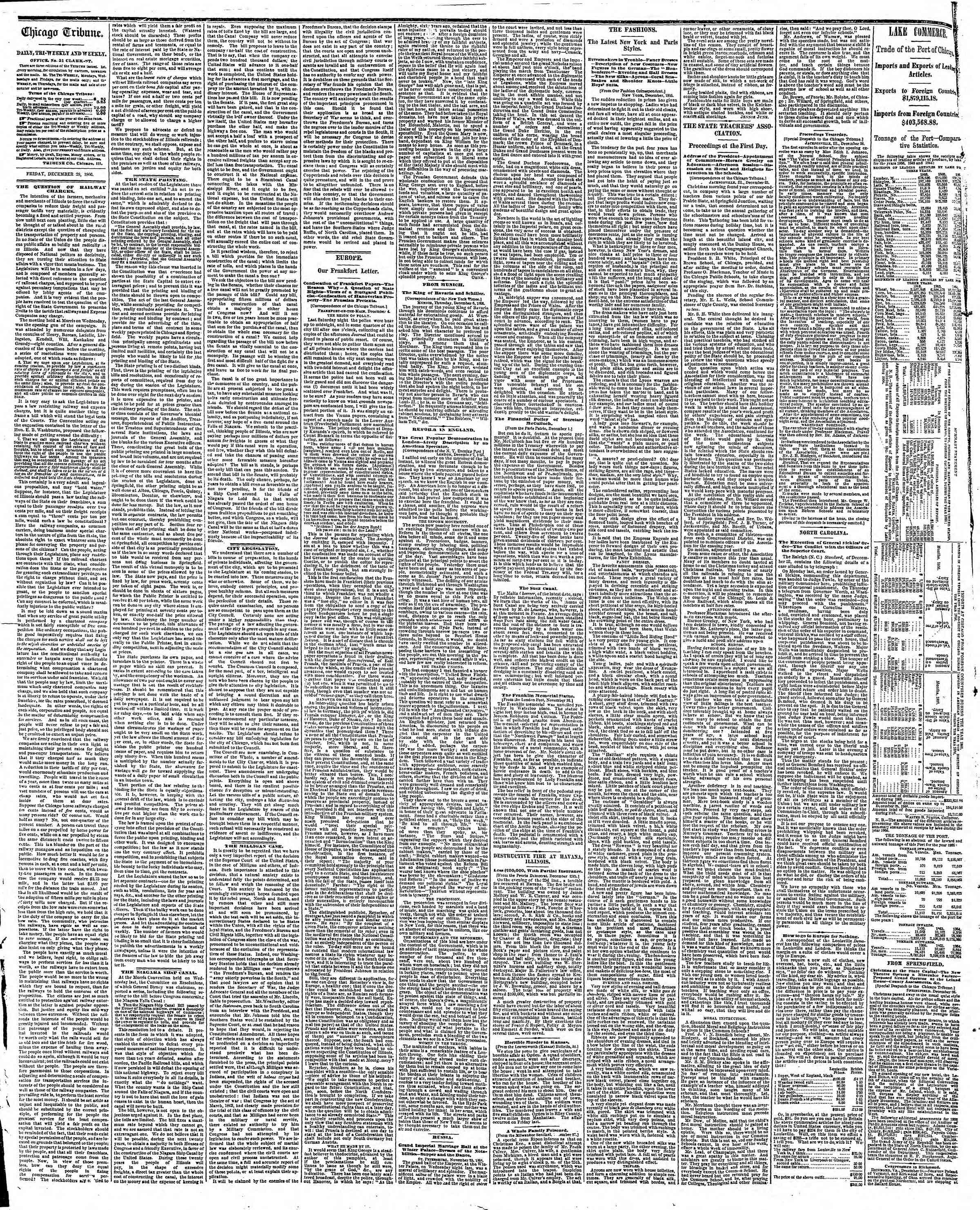 Newspaper of The Chicago Tribune dated December 28, 1866 Page 2