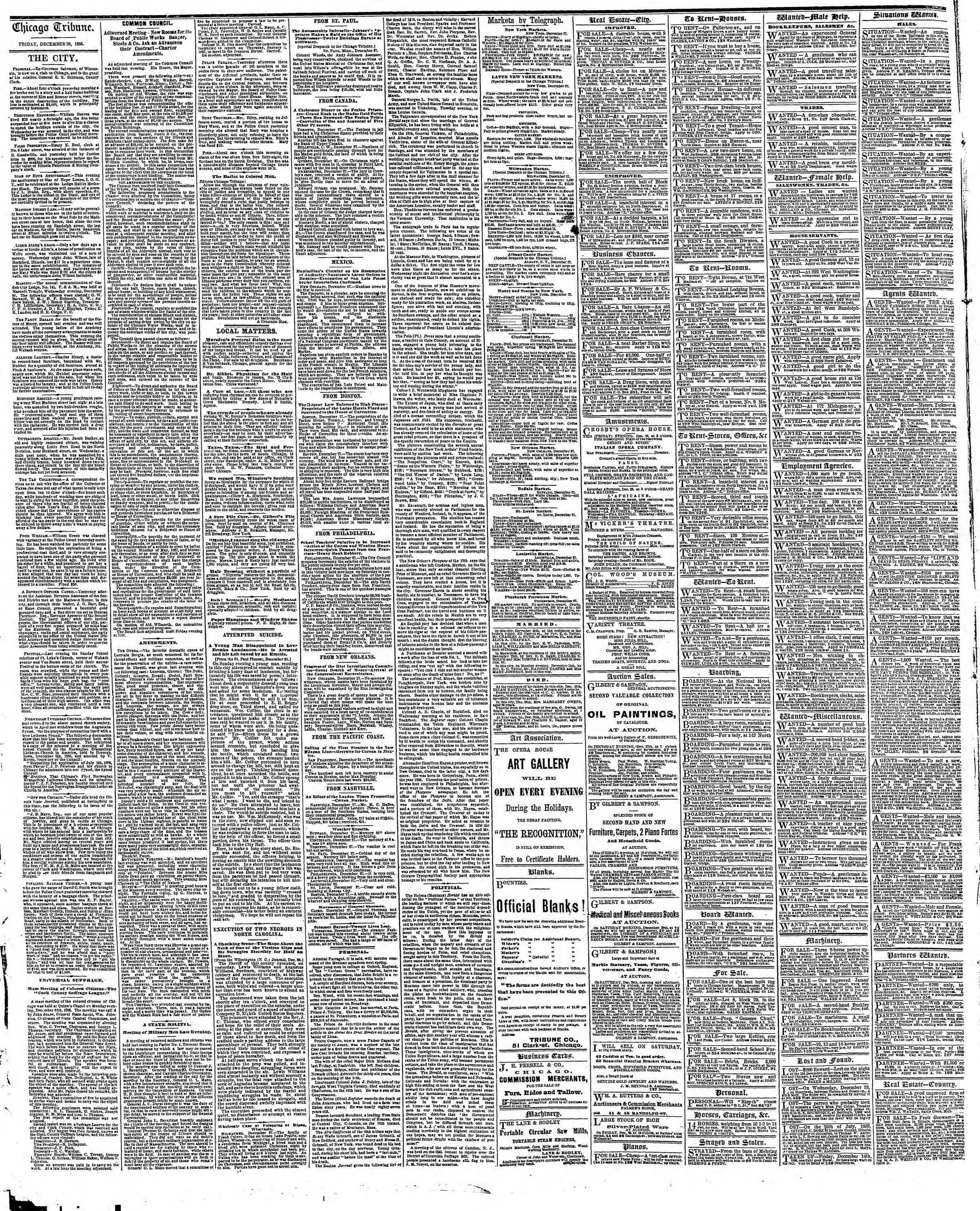 Newspaper of The Chicago Tribune dated December 28, 1866 Page 4