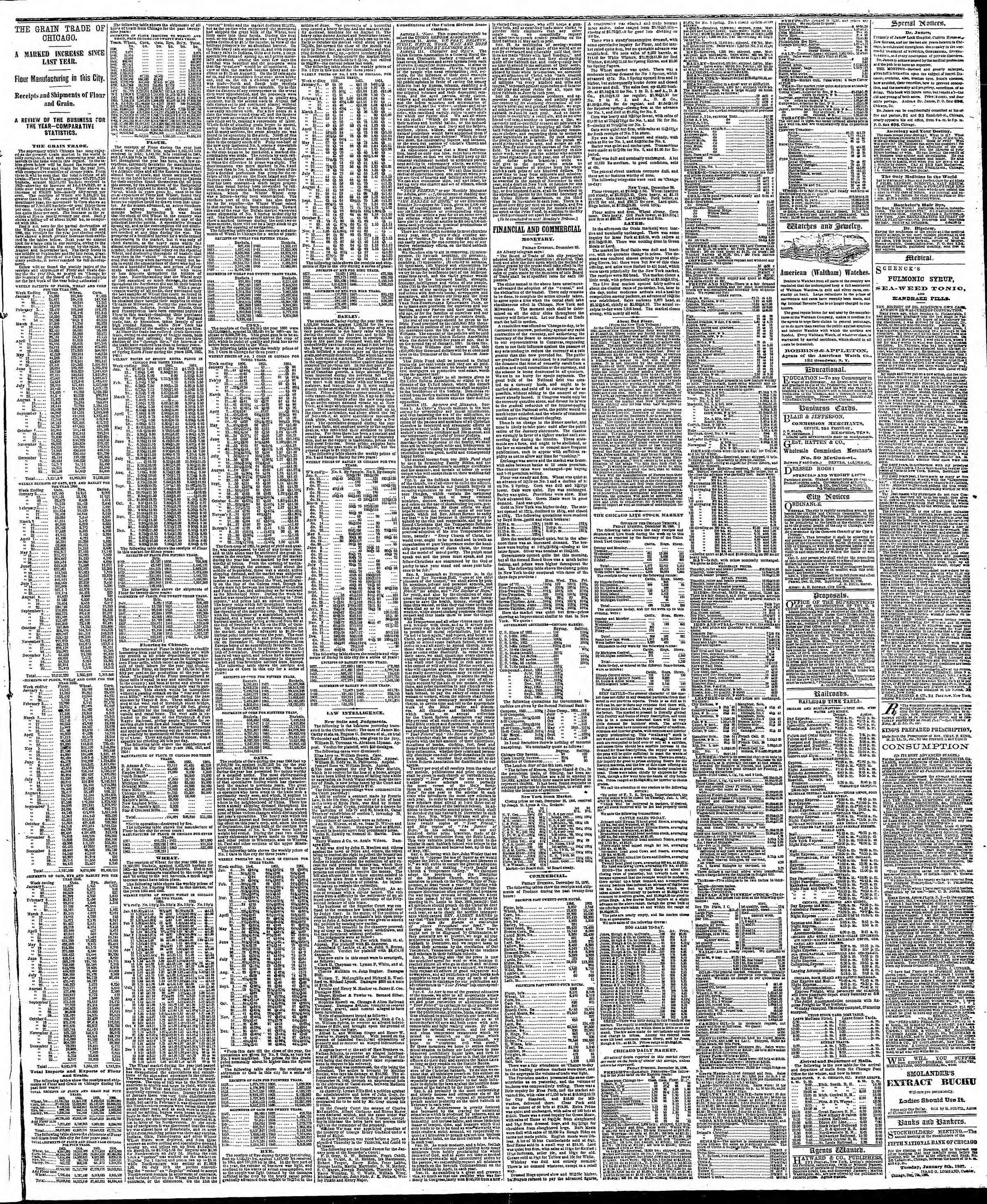 Newspaper of The Chicago Tribune dated December 29, 1866 Page 3