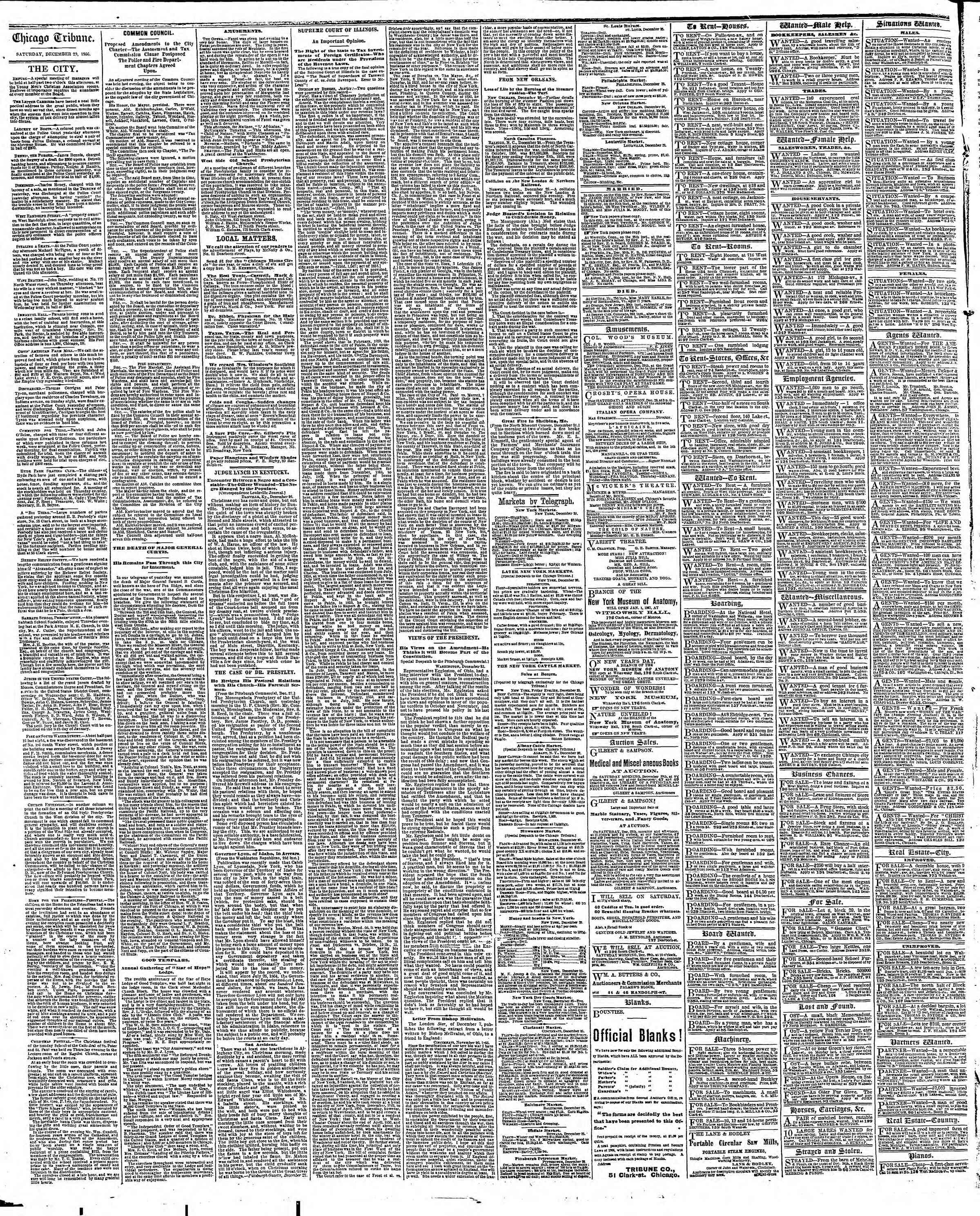 Newspaper of The Chicago Tribune dated December 29, 1866 Page 4