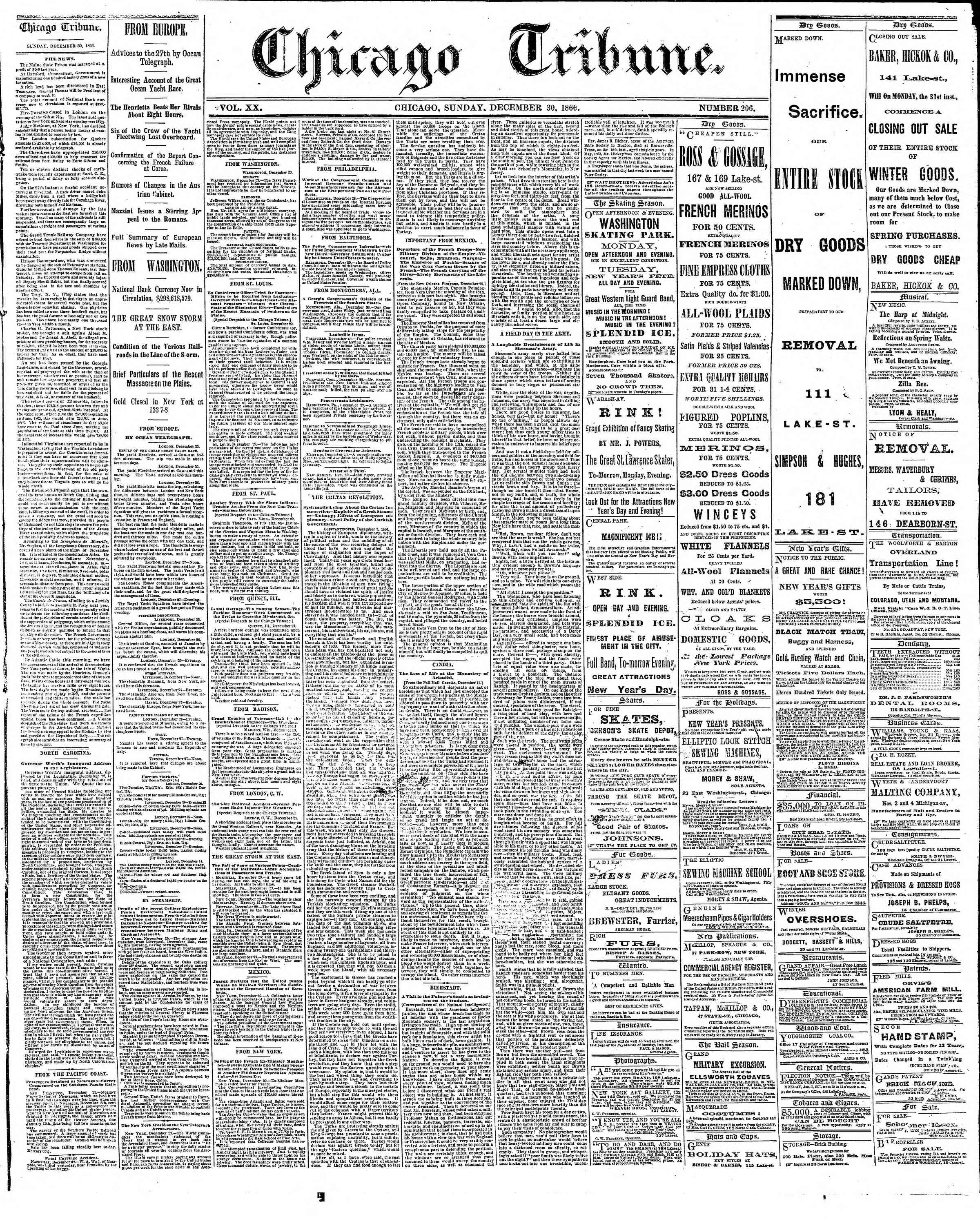Newspaper of The Chicago Tribune dated December 30, 1866 Page 1