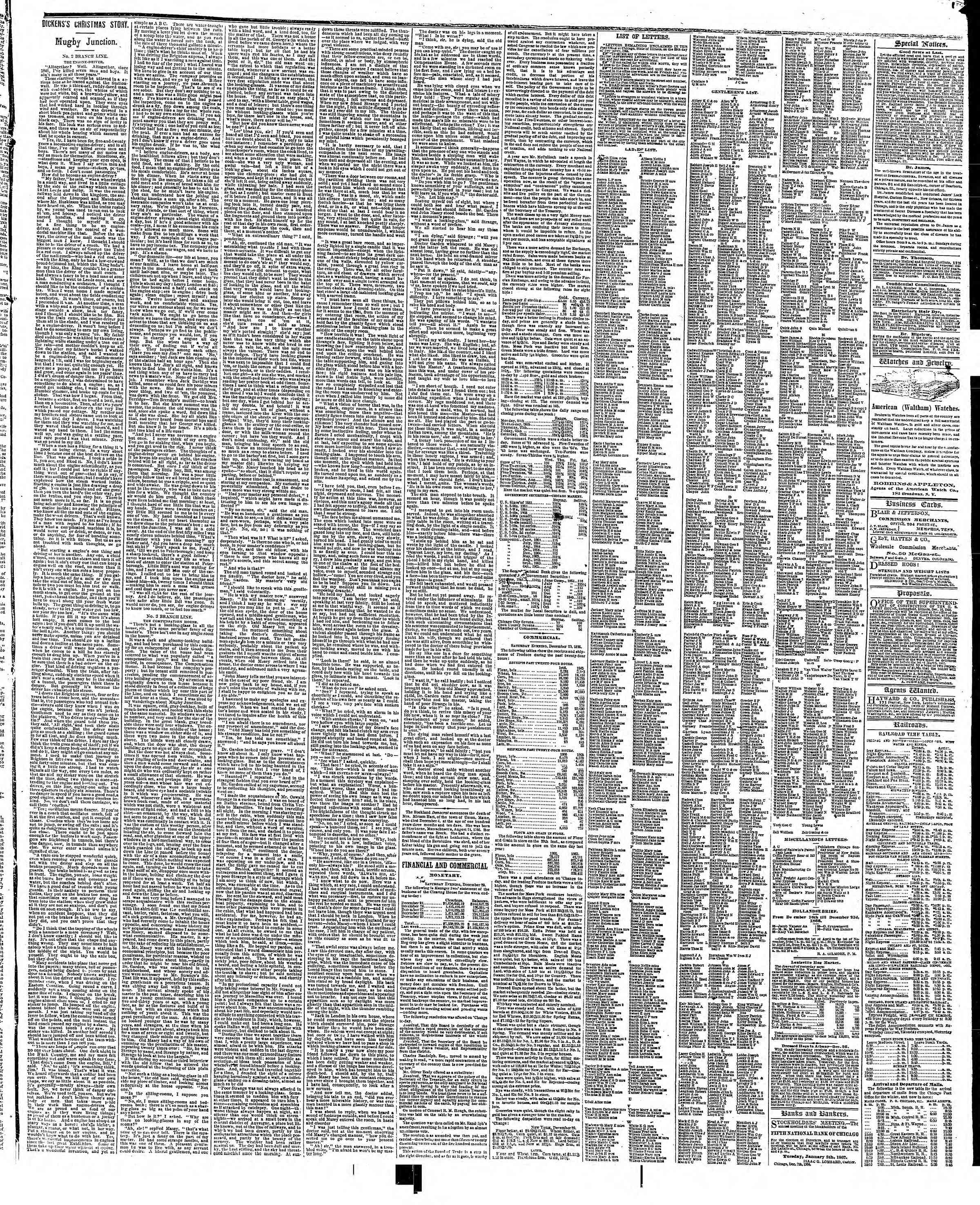 Newspaper of The Chicago Tribune dated December 30, 1866 Page 3