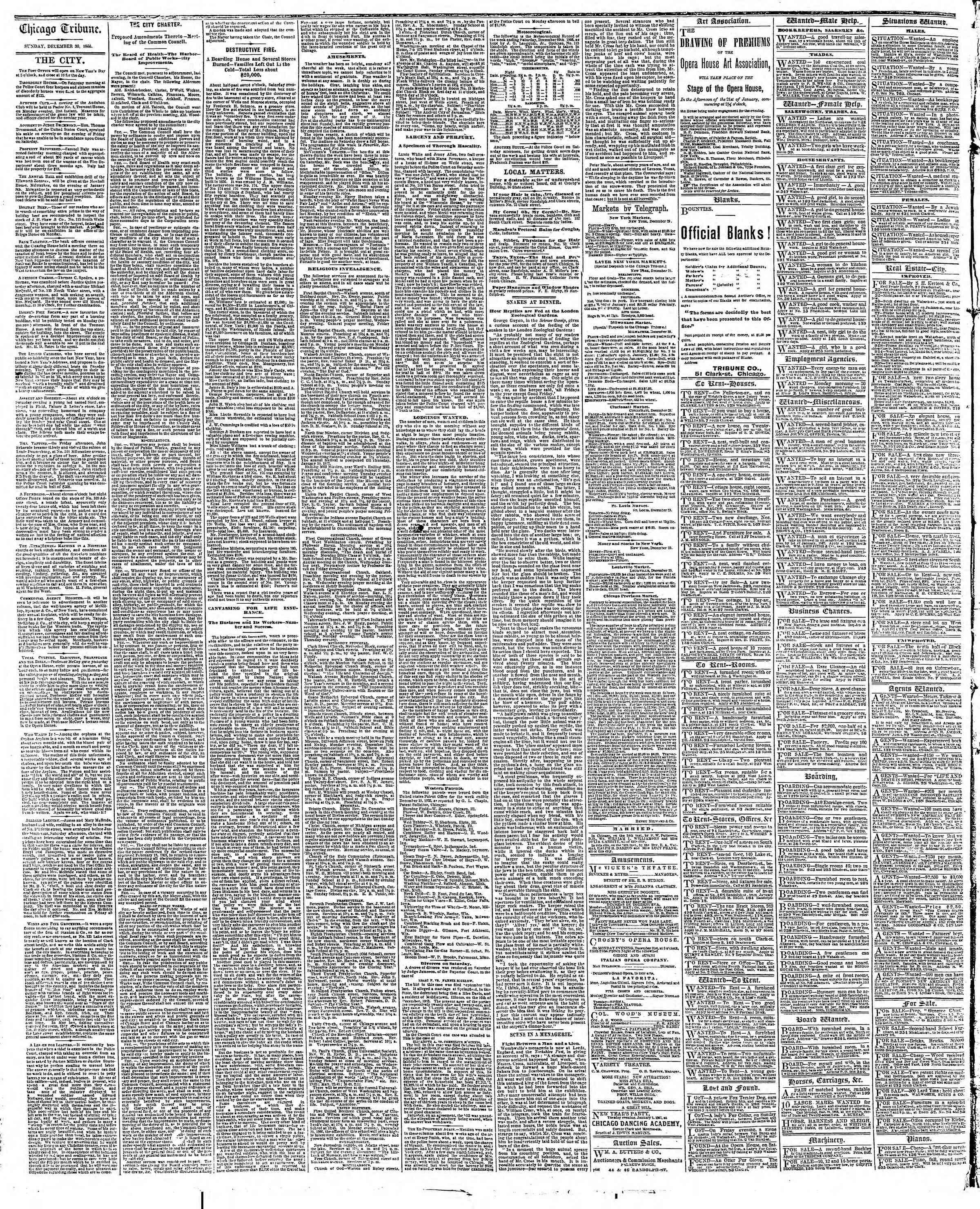 Newspaper of The Chicago Tribune dated December 30, 1866 Page 4