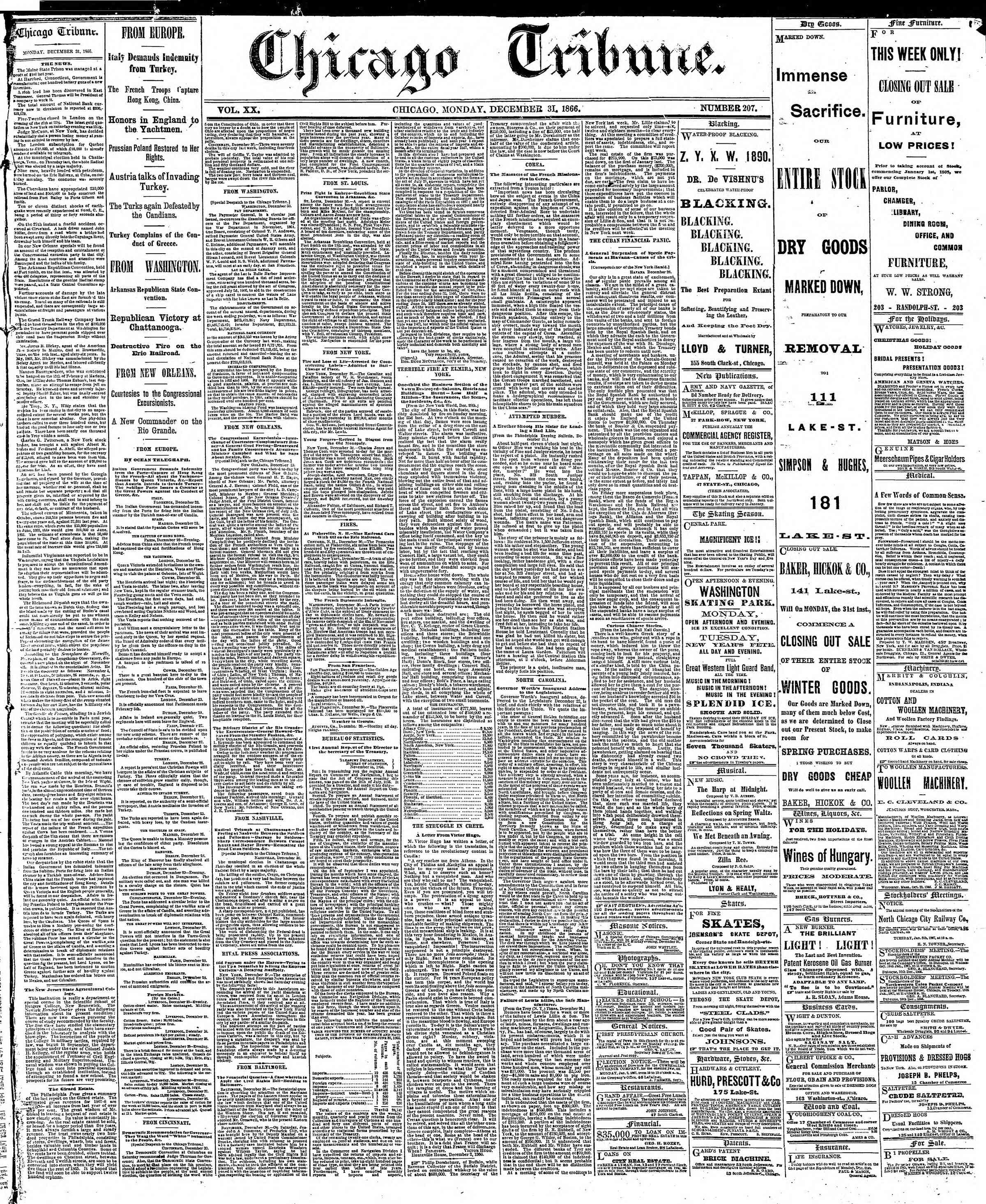 Newspaper of The Chicago Tribune dated December 31, 1866 Page 1