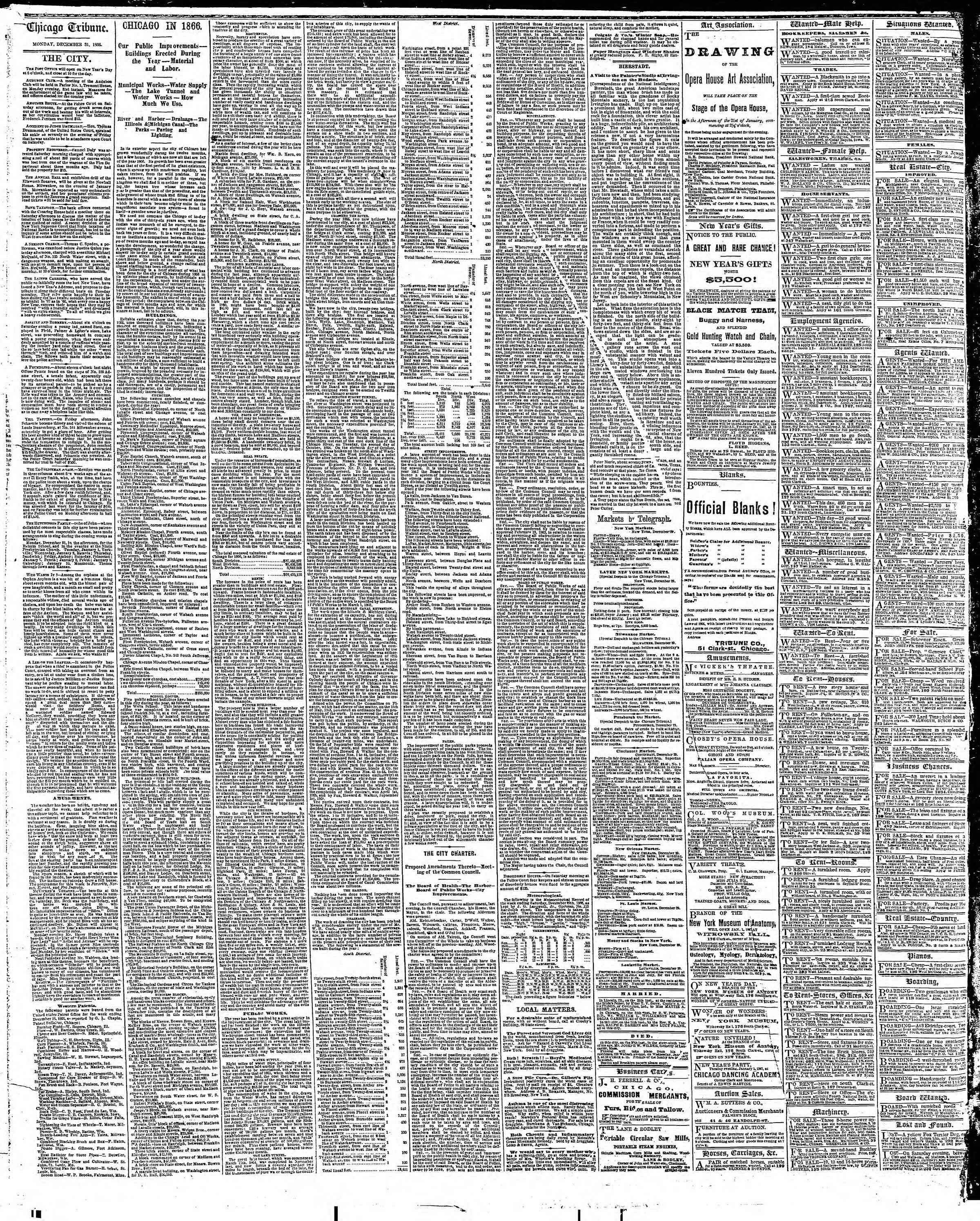 Newspaper of The Chicago Tribune dated December 31, 1866 Page 4