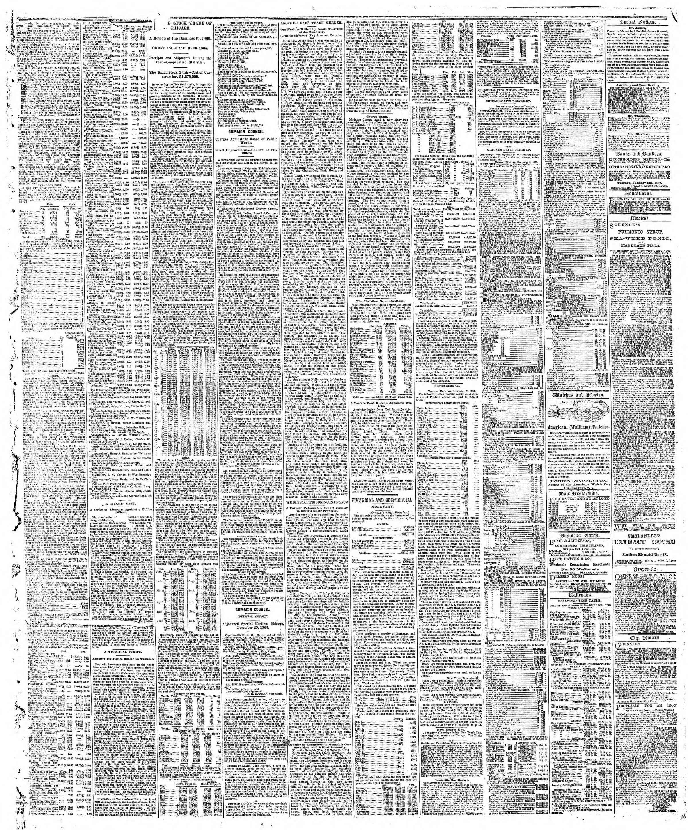 Newspaper of The Chicago Tribune dated January 1, 1867 Page 3