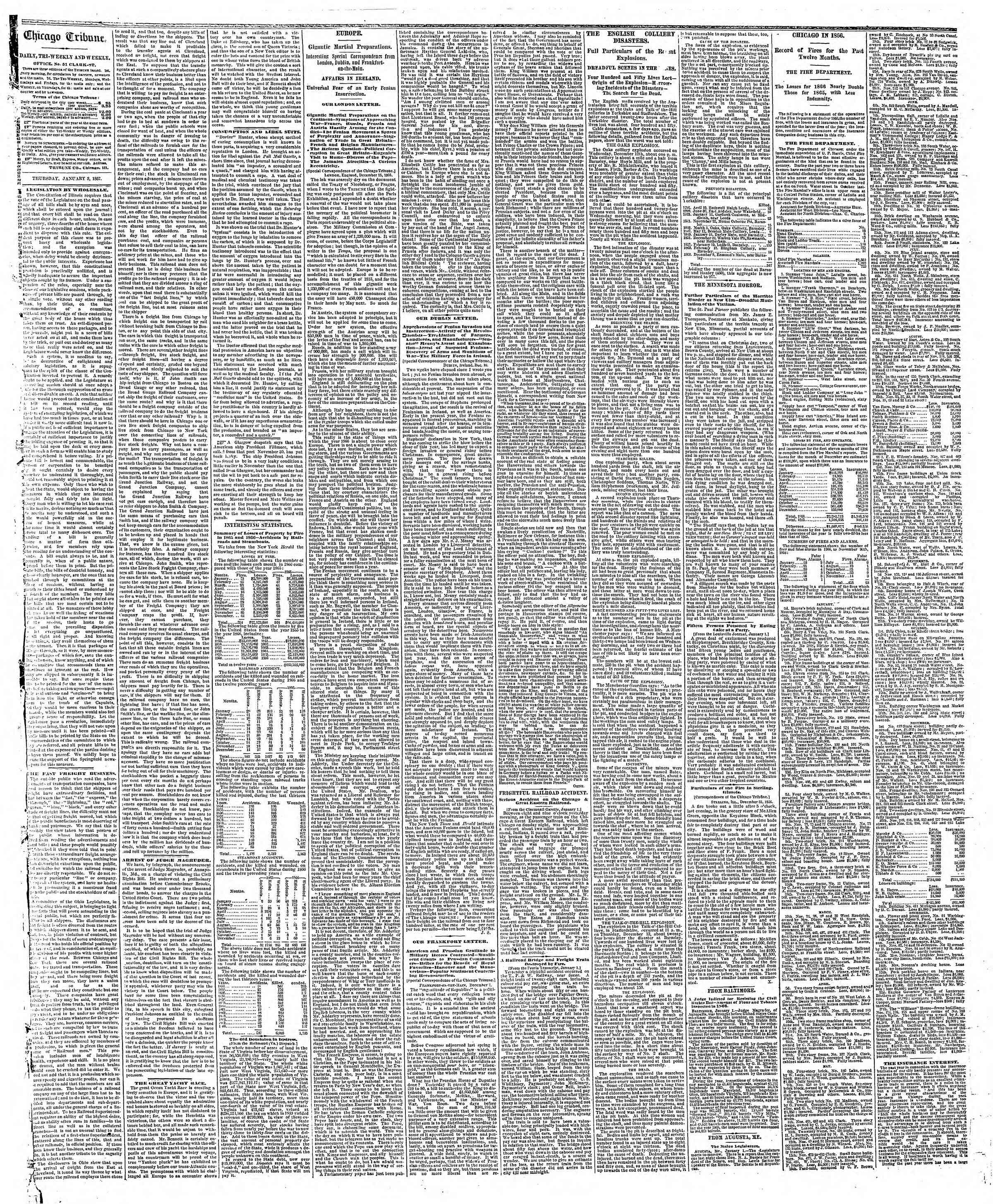 Newspaper of The Chicago Tribune dated January 3, 1867 Page 2