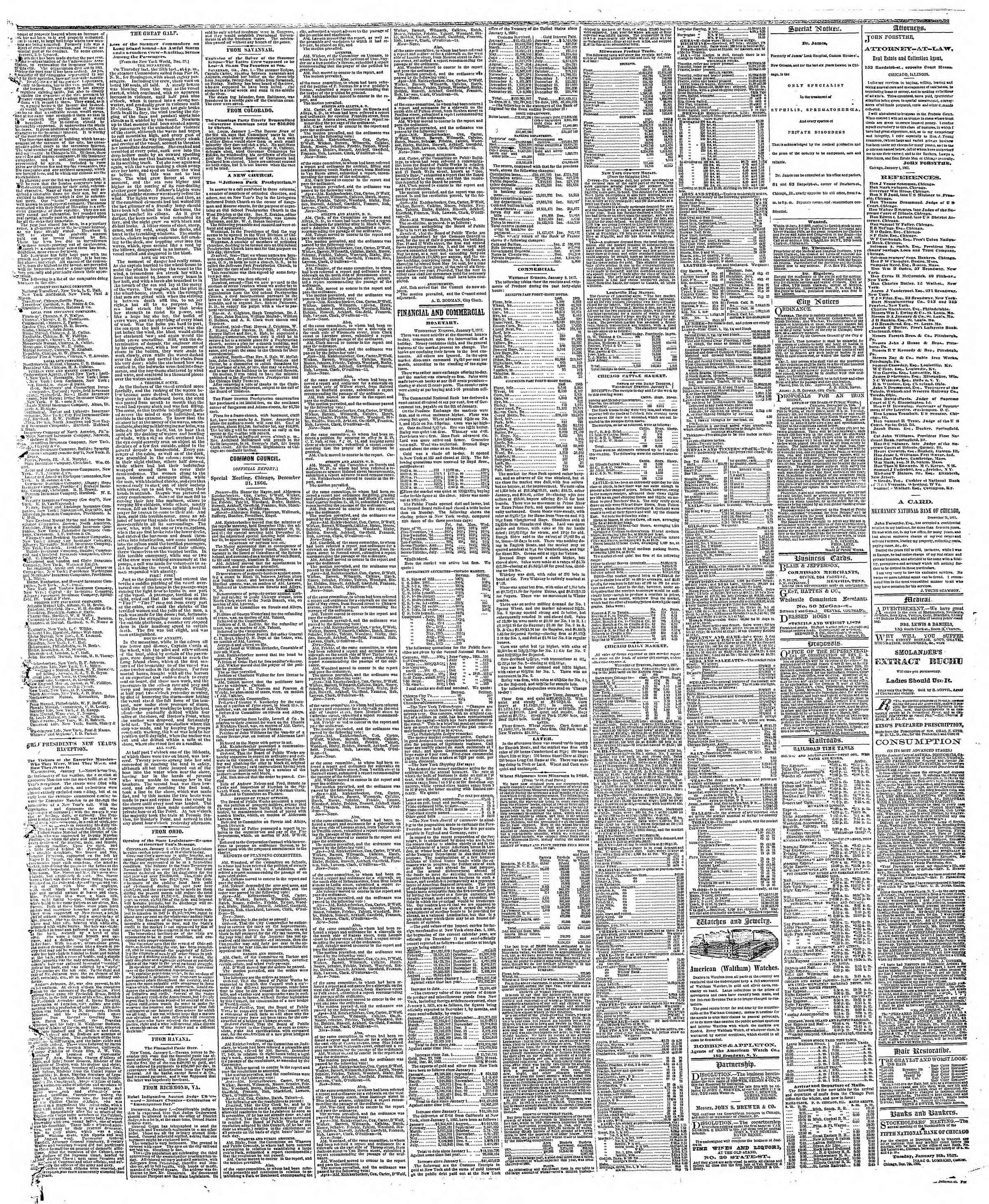 Newspaper of The Chicago Tribune dated January 3, 1867 Page 3