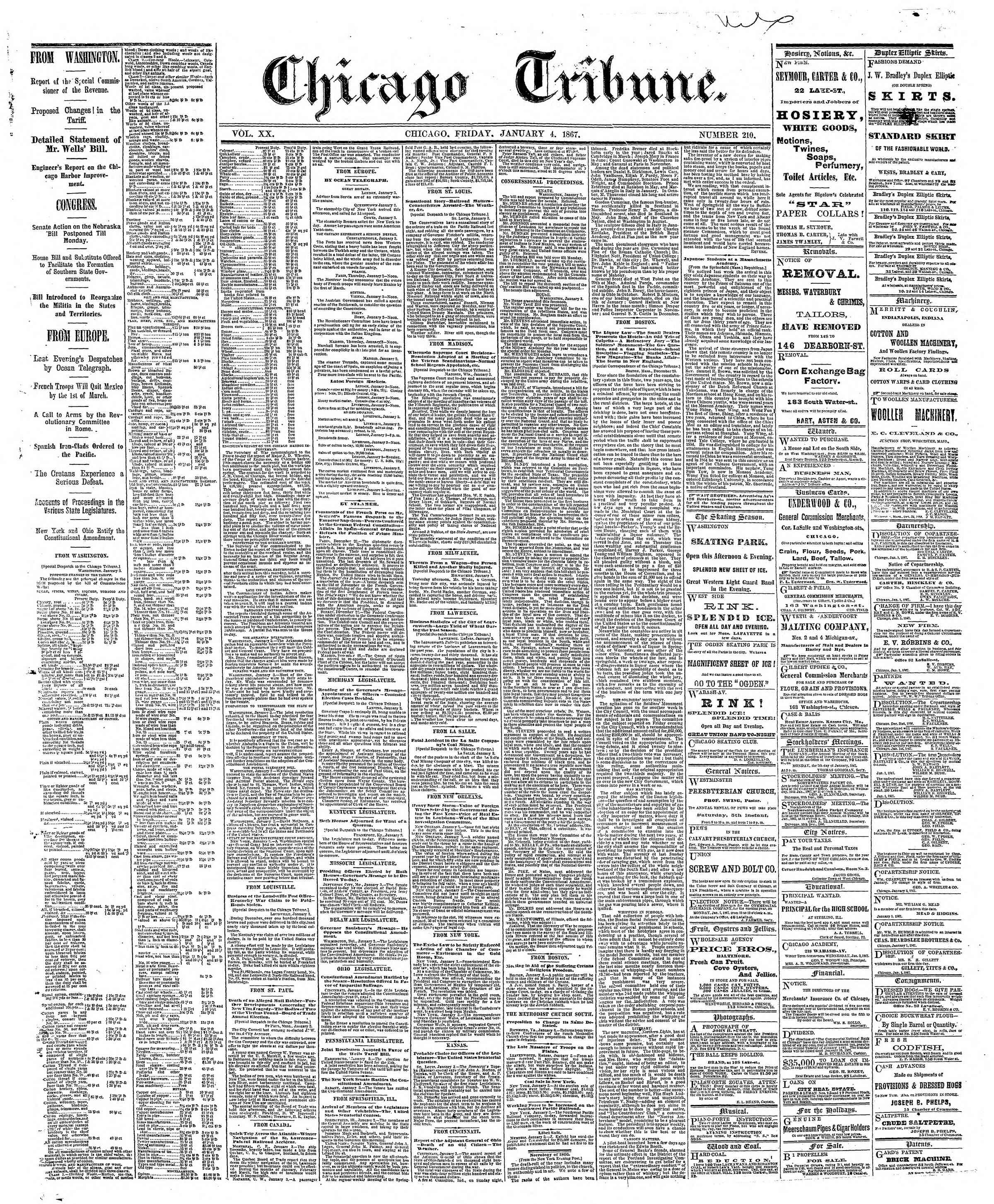 Newspaper of The Chicago Tribune dated January 4, 1867 Page 1