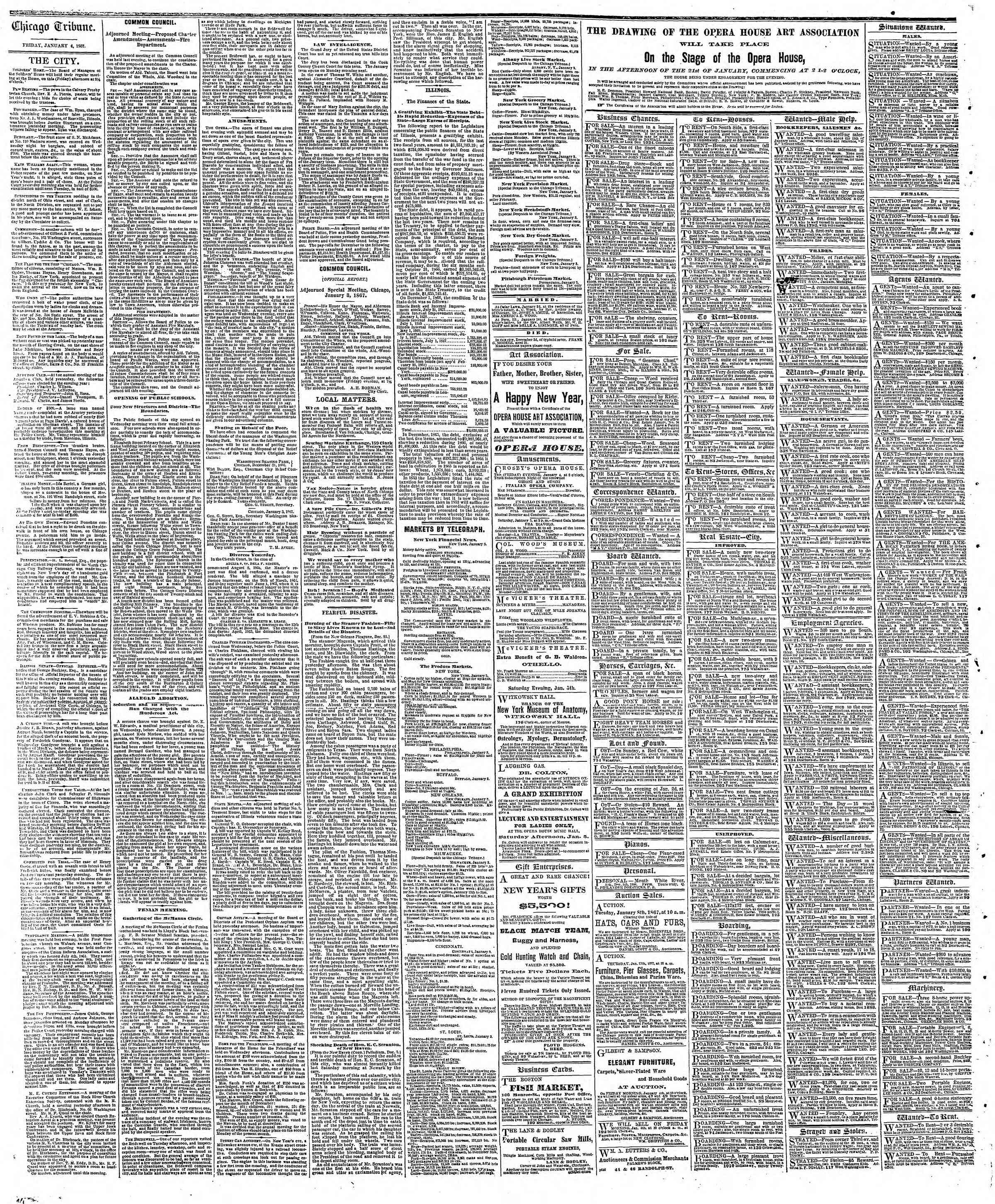 Newspaper of The Chicago Tribune dated January 4, 1867 Page 4
