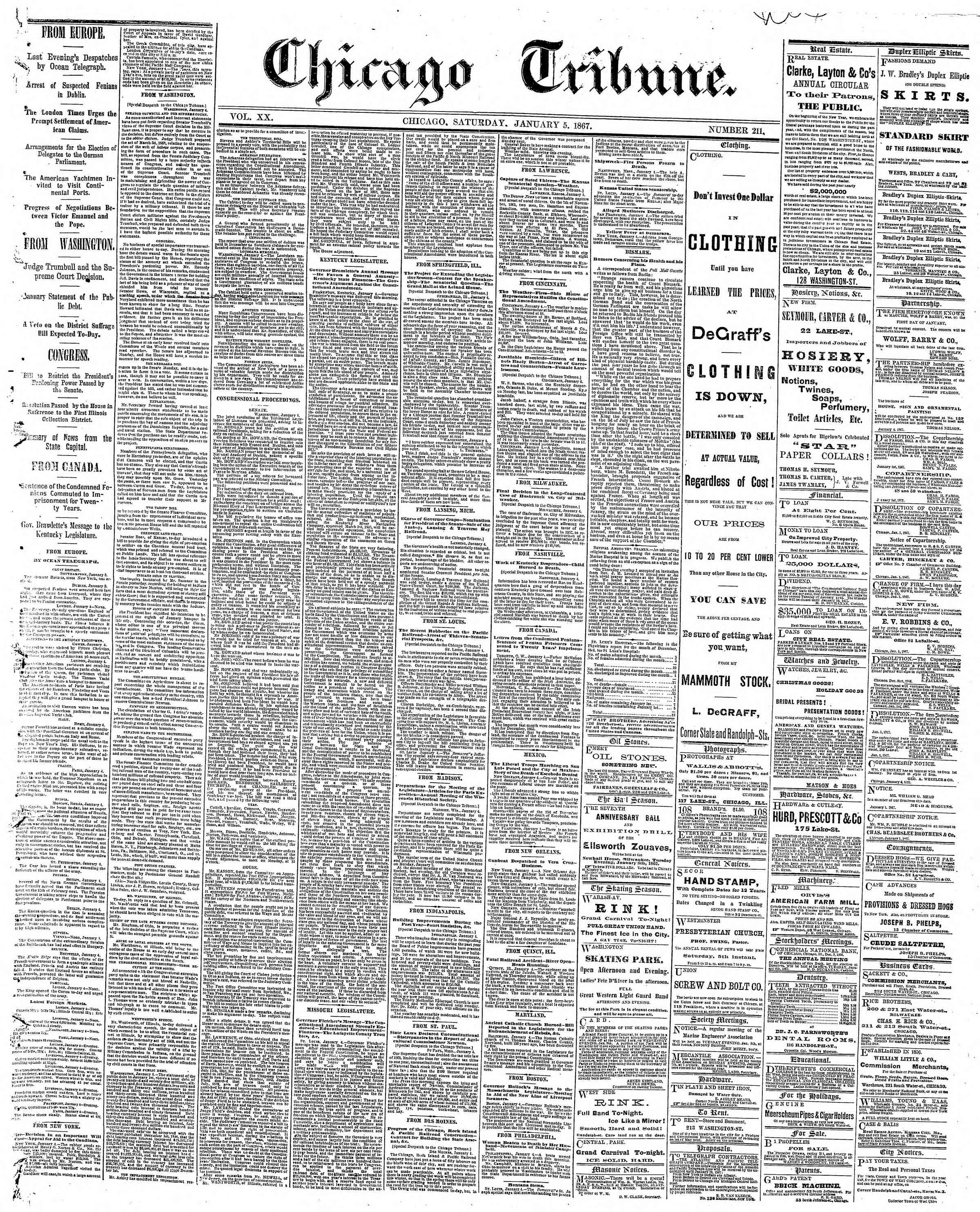 Newspaper of The Chicago Tribune dated January 5, 1867 Page 1
