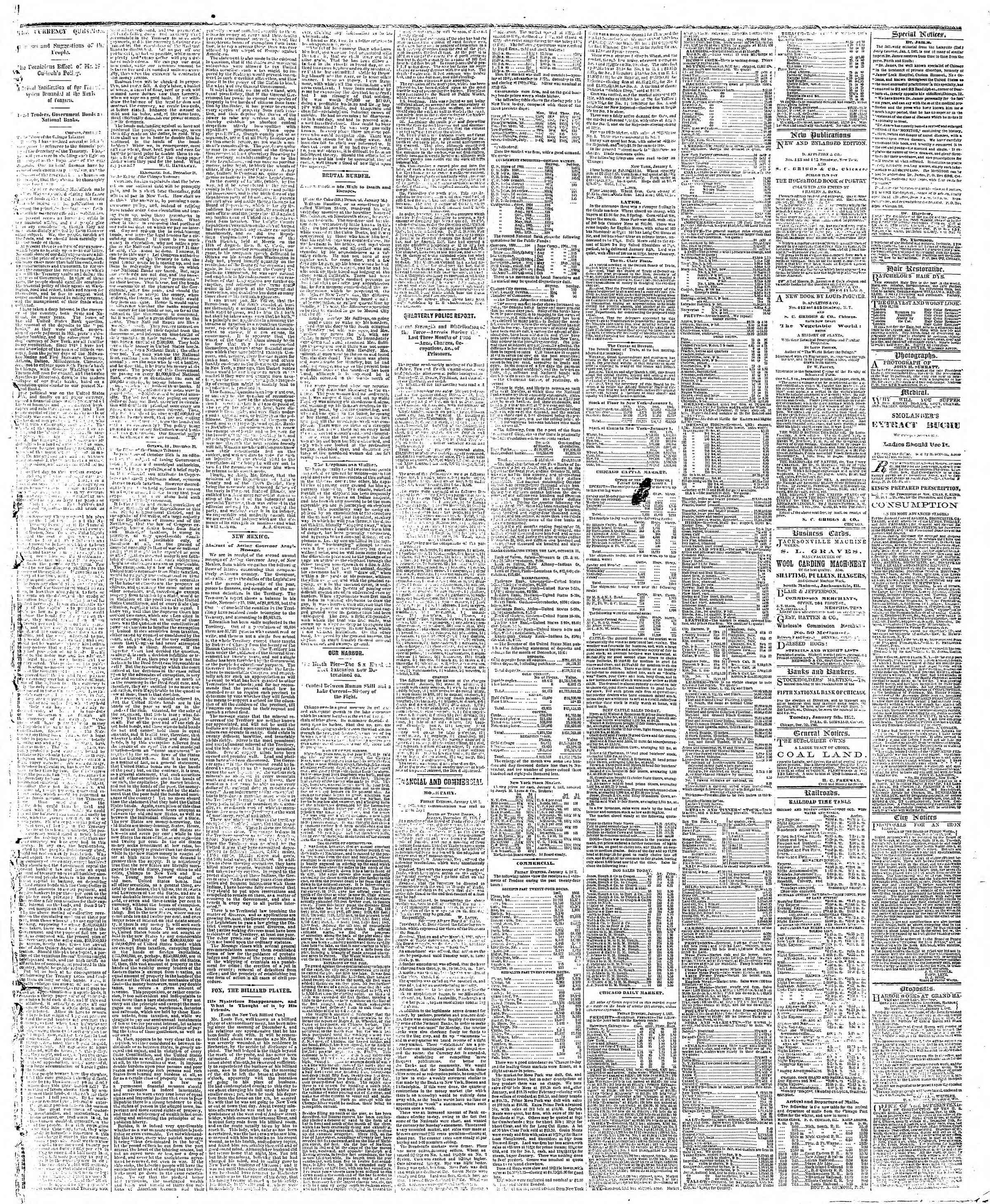 Newspaper of The Chicago Tribune dated January 5, 1867 Page 3
