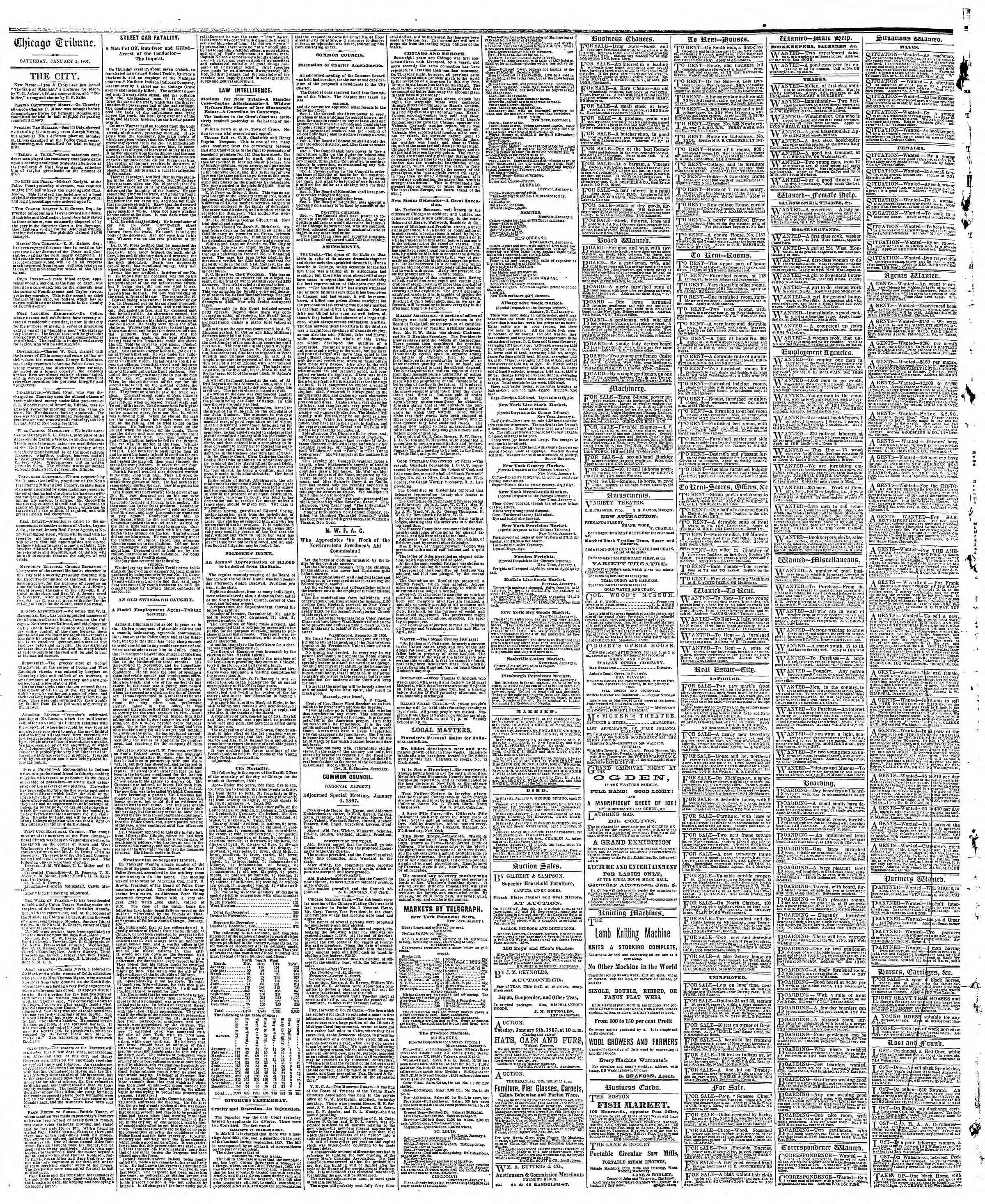 Newspaper of The Chicago Tribune dated January 5, 1867 Page 4