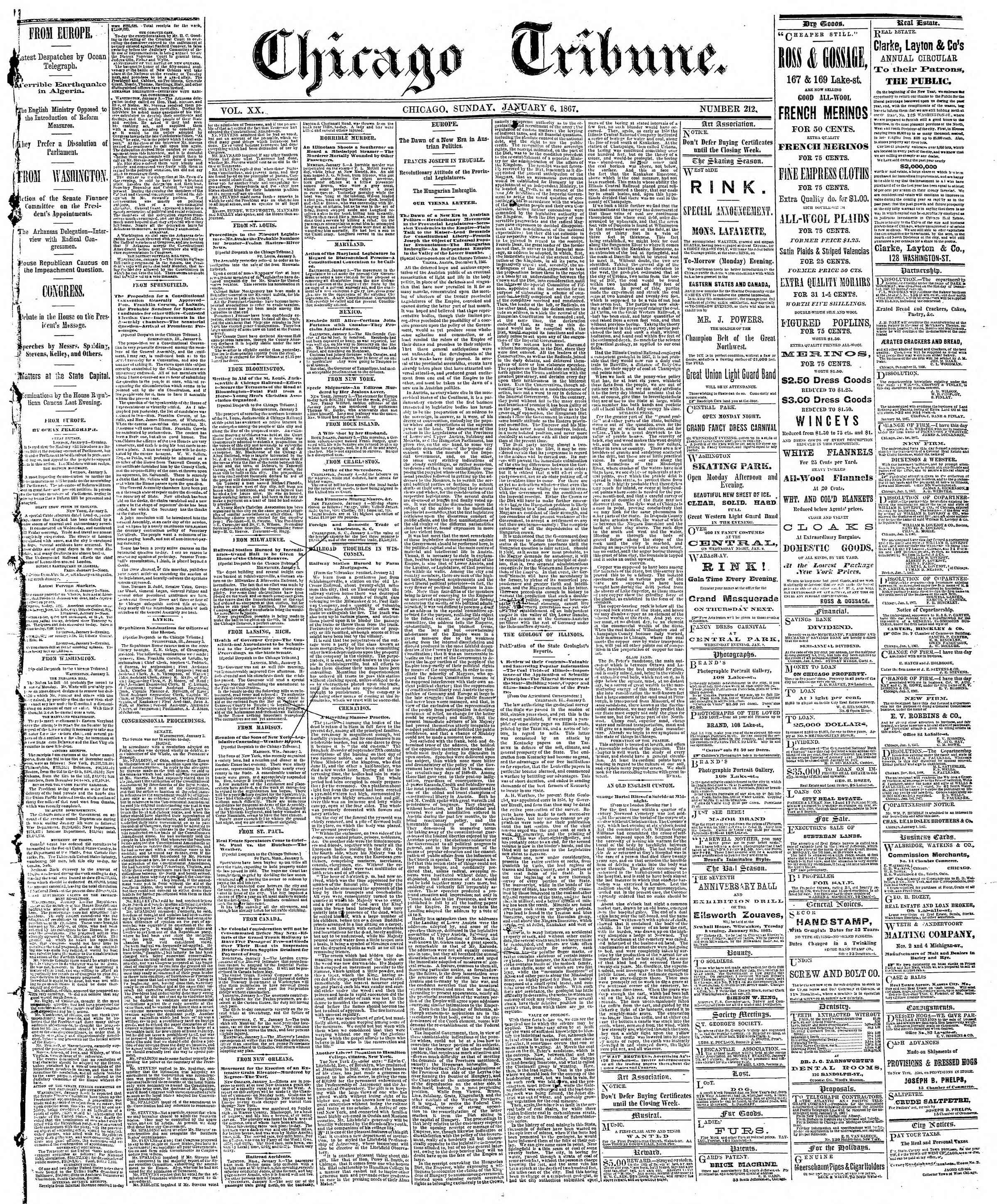 Newspaper of The Chicago Tribune dated January 6, 1867 Page 1