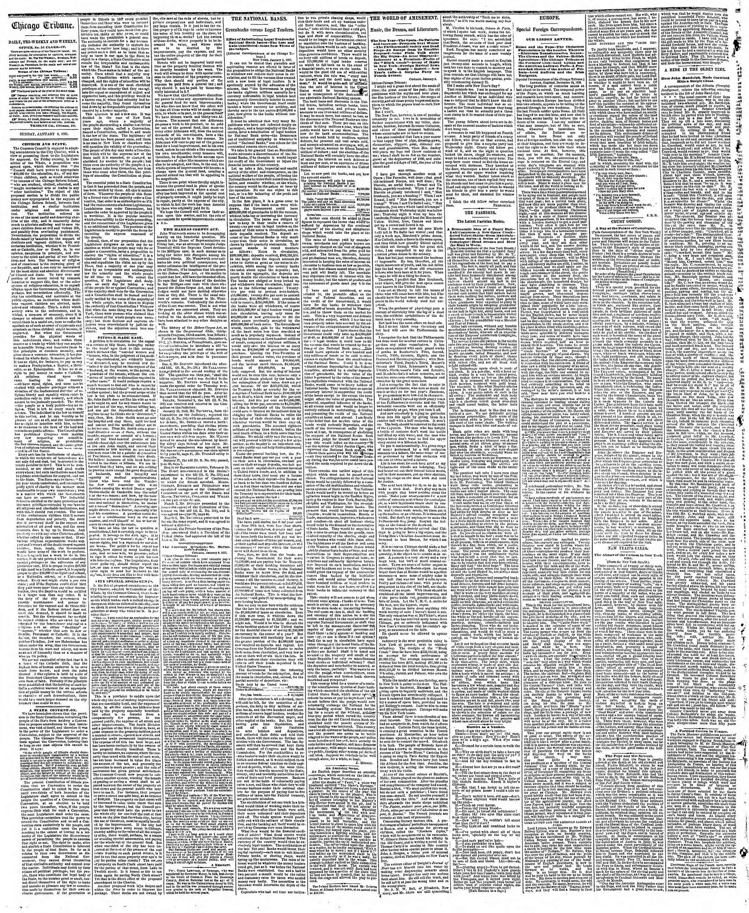 Newspaper of The Chicago Tribune dated January 6, 1867 Page 2