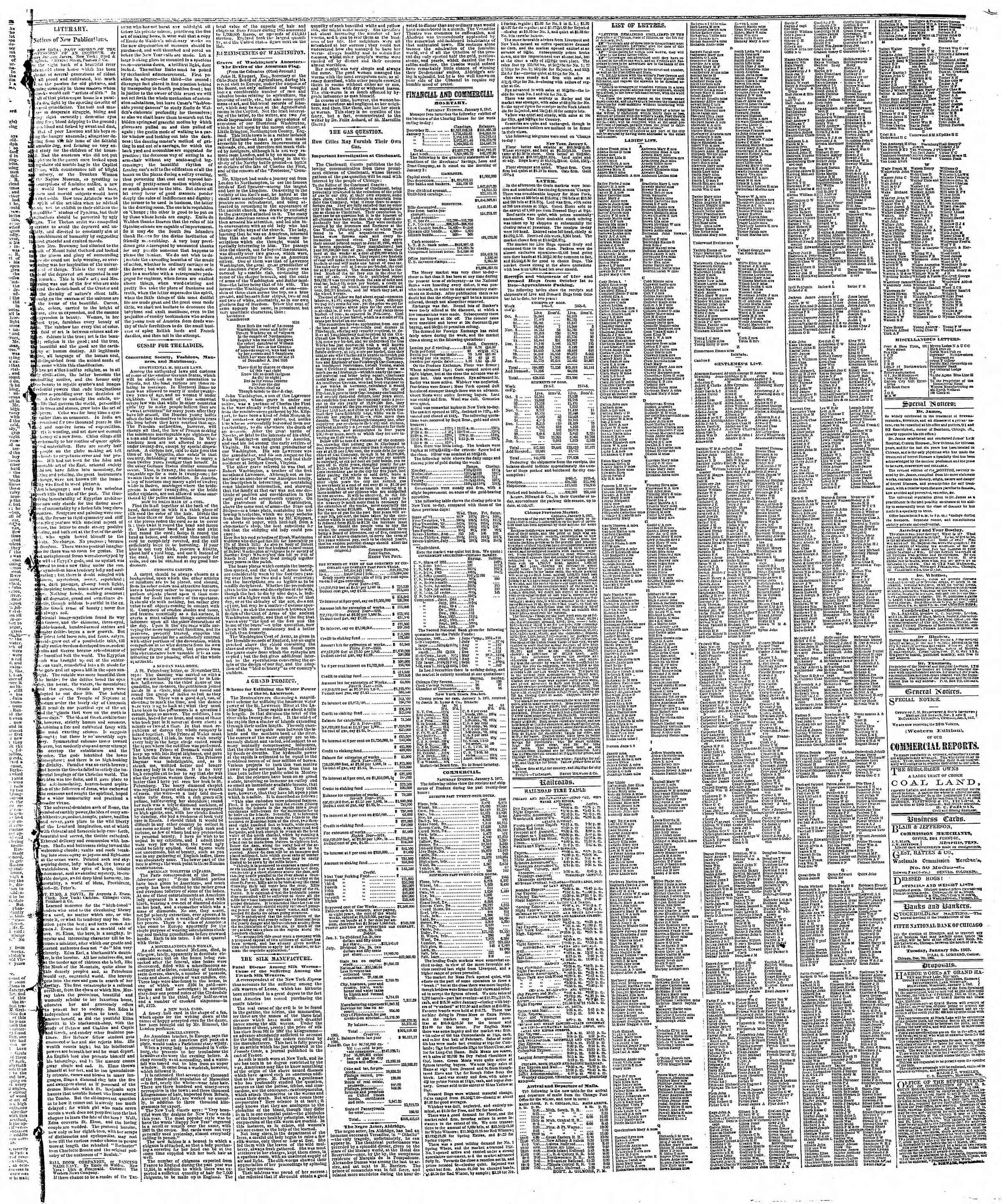 Newspaper of The Chicago Tribune dated January 6, 1867 Page 3
