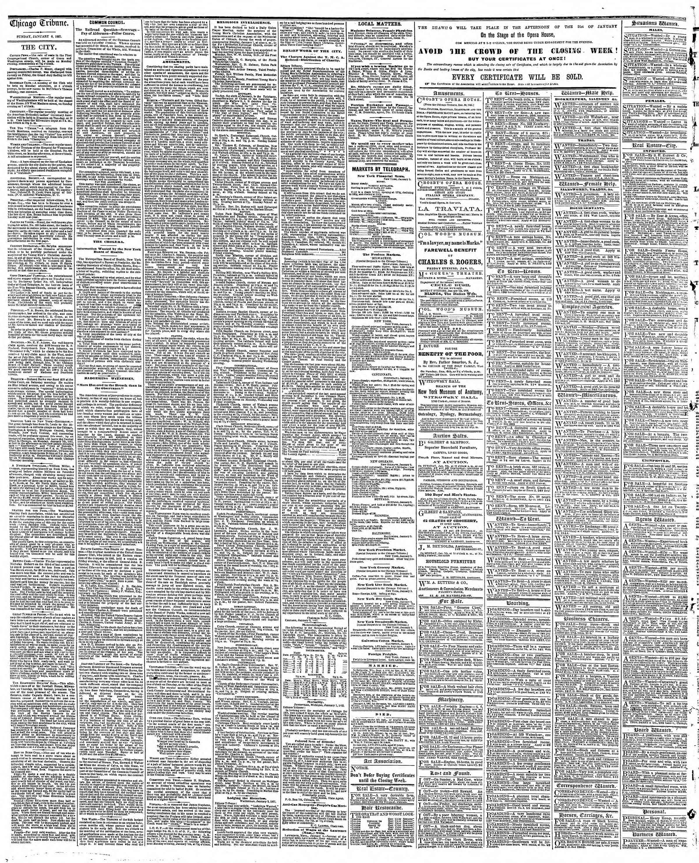 Newspaper of The Chicago Tribune dated January 6, 1867 Page 4