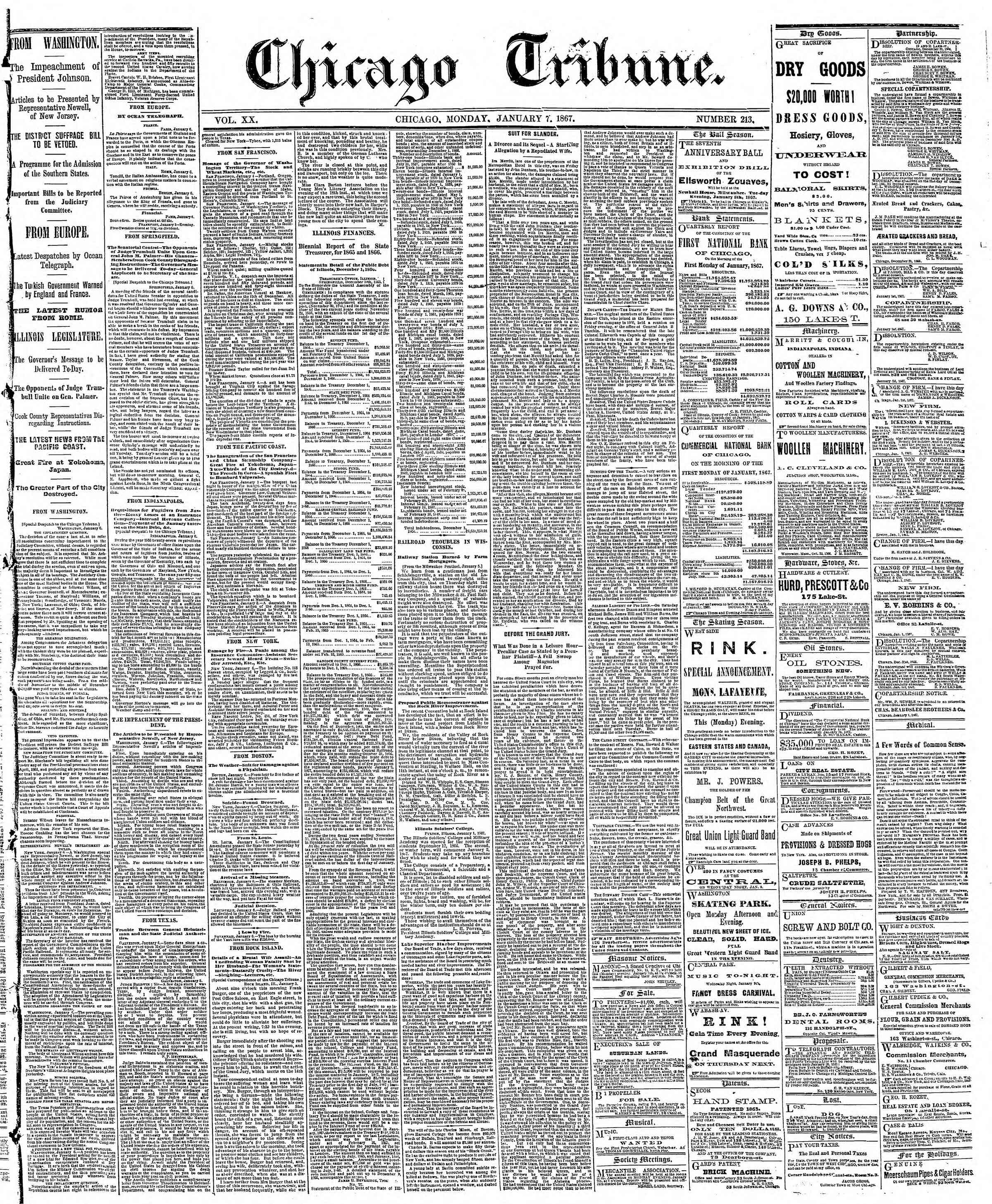 Newspaper of The Chicago Tribune dated January 7, 1867 Page 1