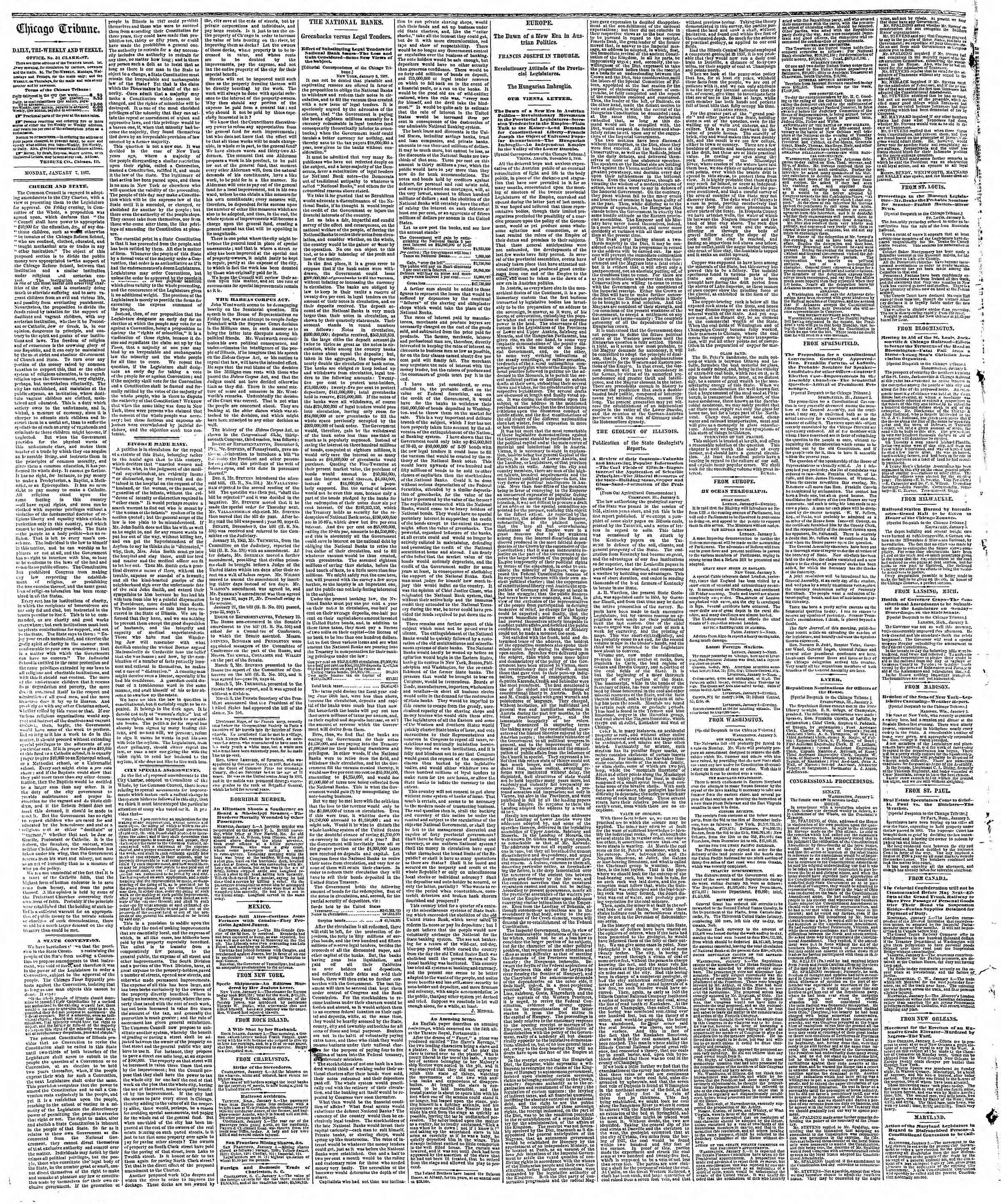 Newspaper of The Chicago Tribune dated January 7, 1867 Page 2