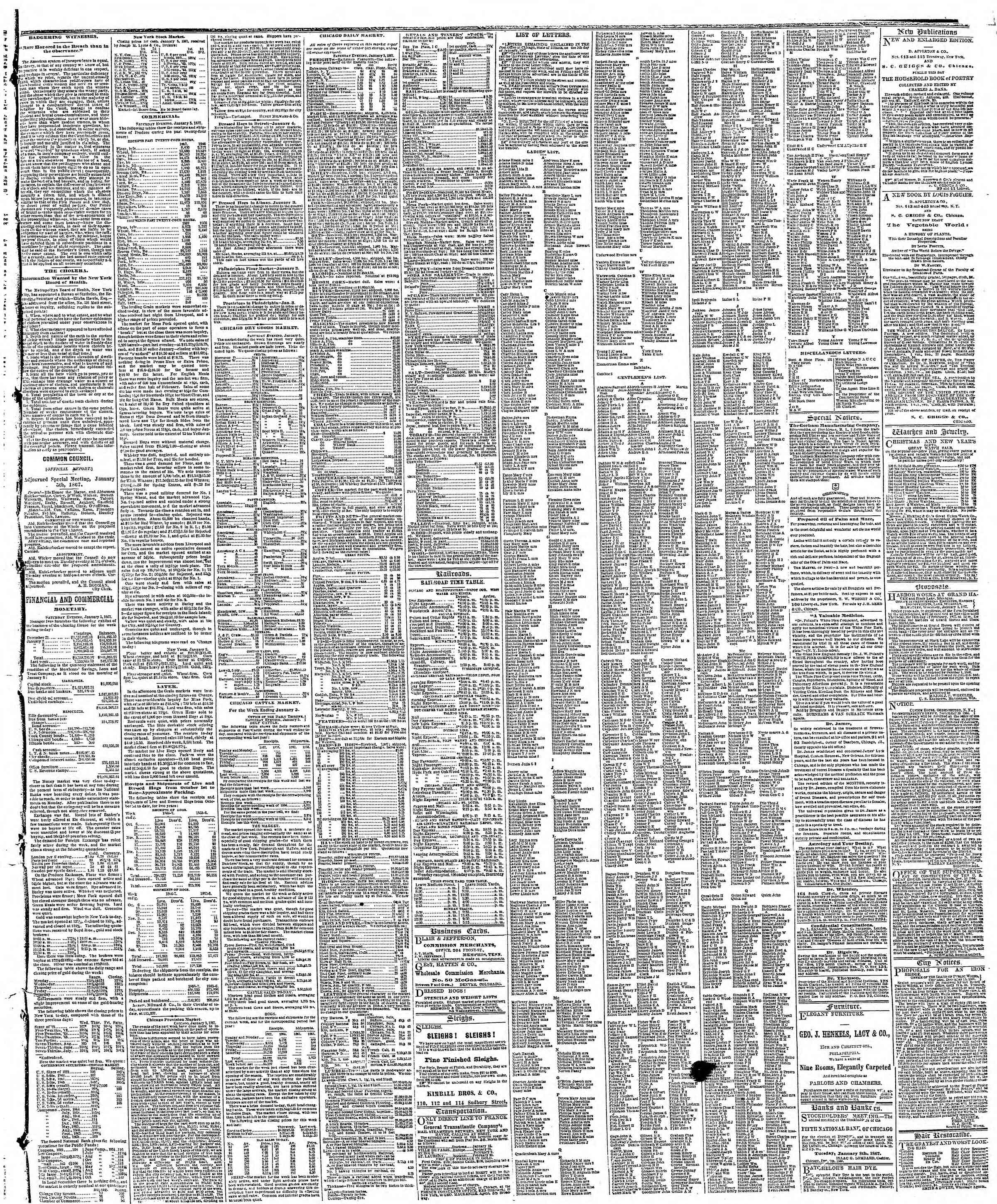 Newspaper of The Chicago Tribune dated January 7, 1867 Page 3