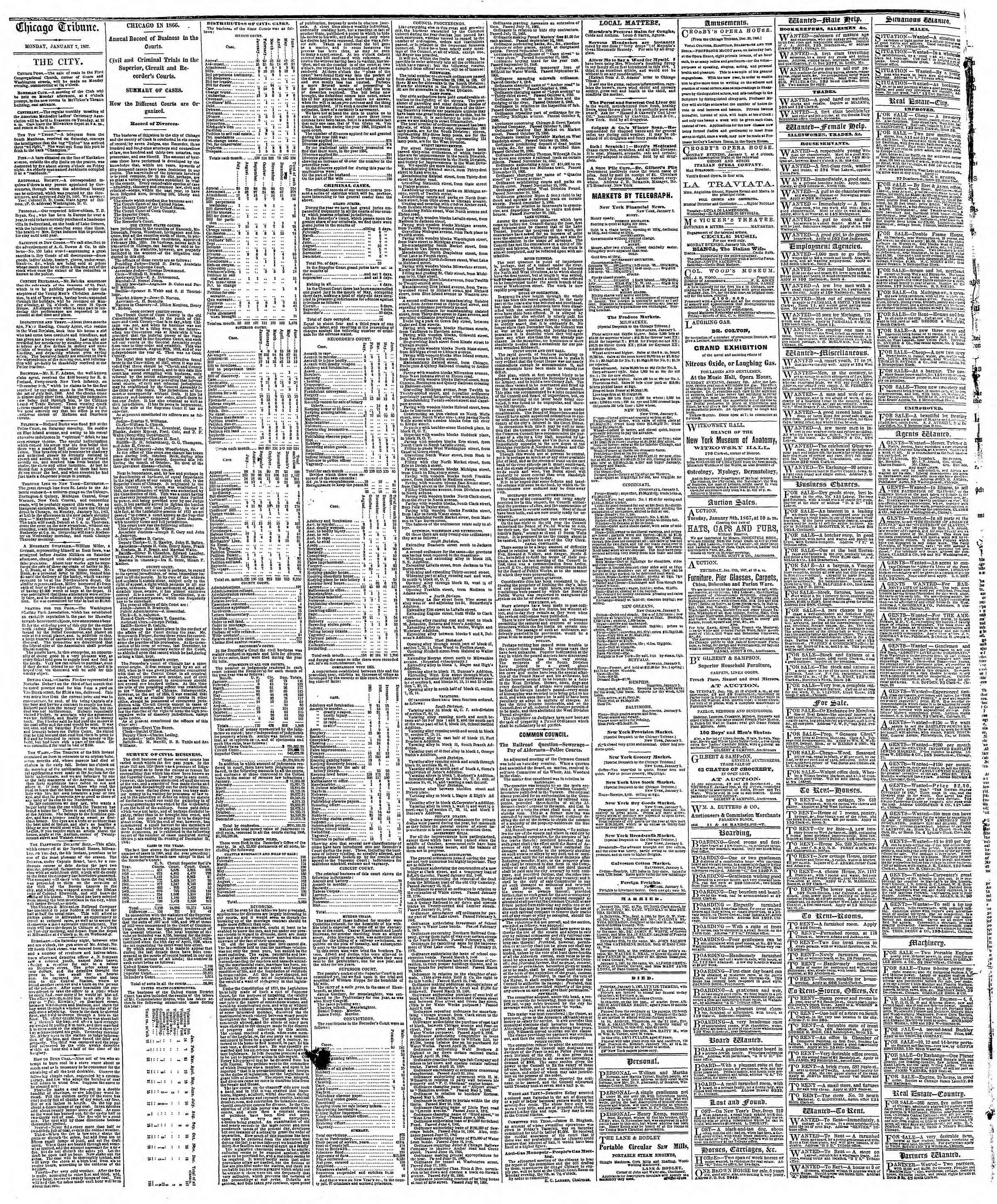 Newspaper of The Chicago Tribune dated January 7, 1867 Page 4