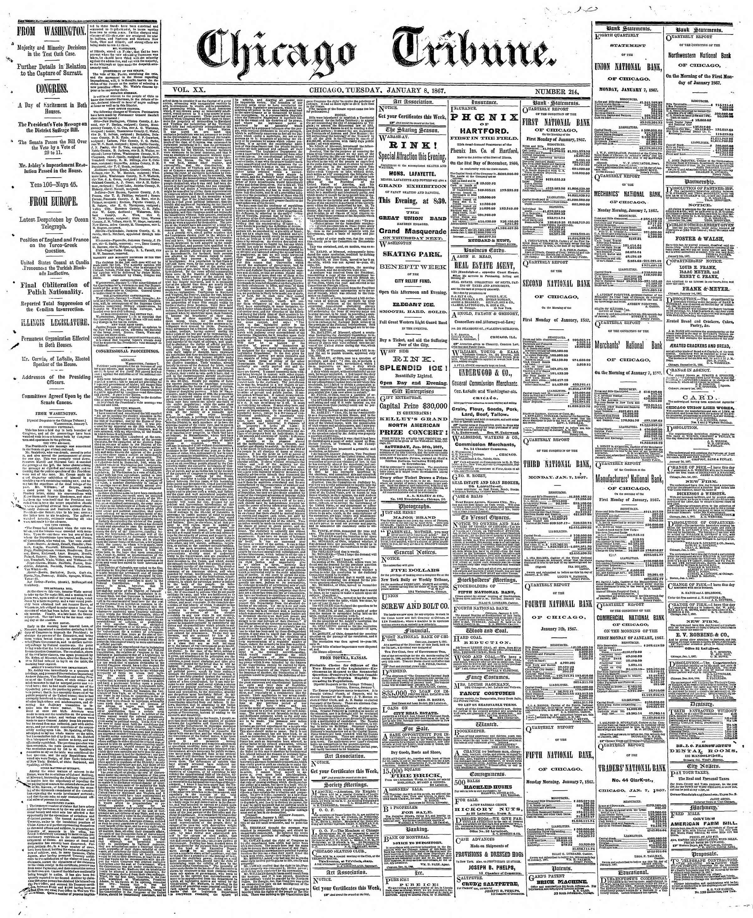 Newspaper of The Chicago Tribune dated January 8, 1867 Page 1