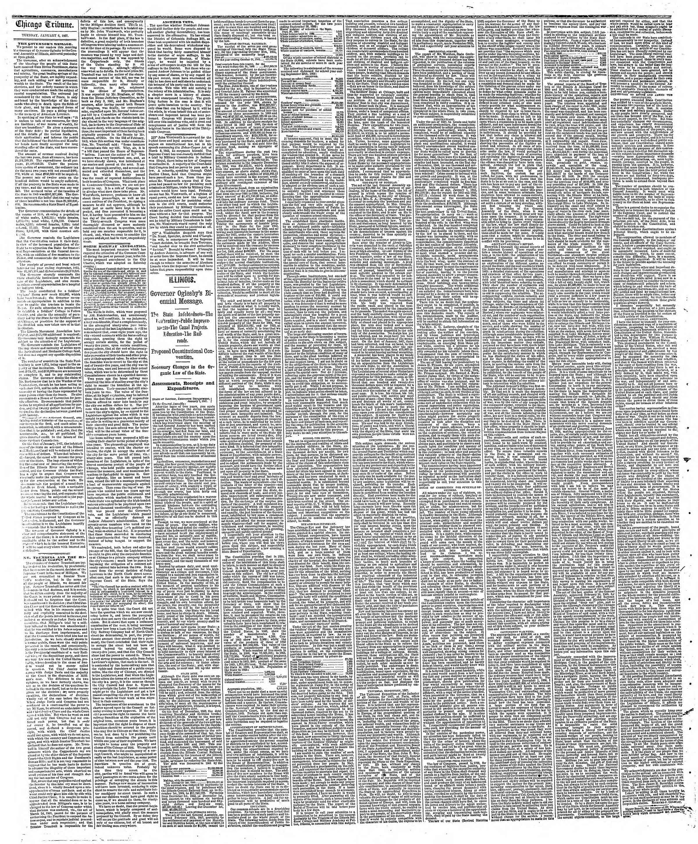 Newspaper of The Chicago Tribune dated January 8, 1867 Page 2