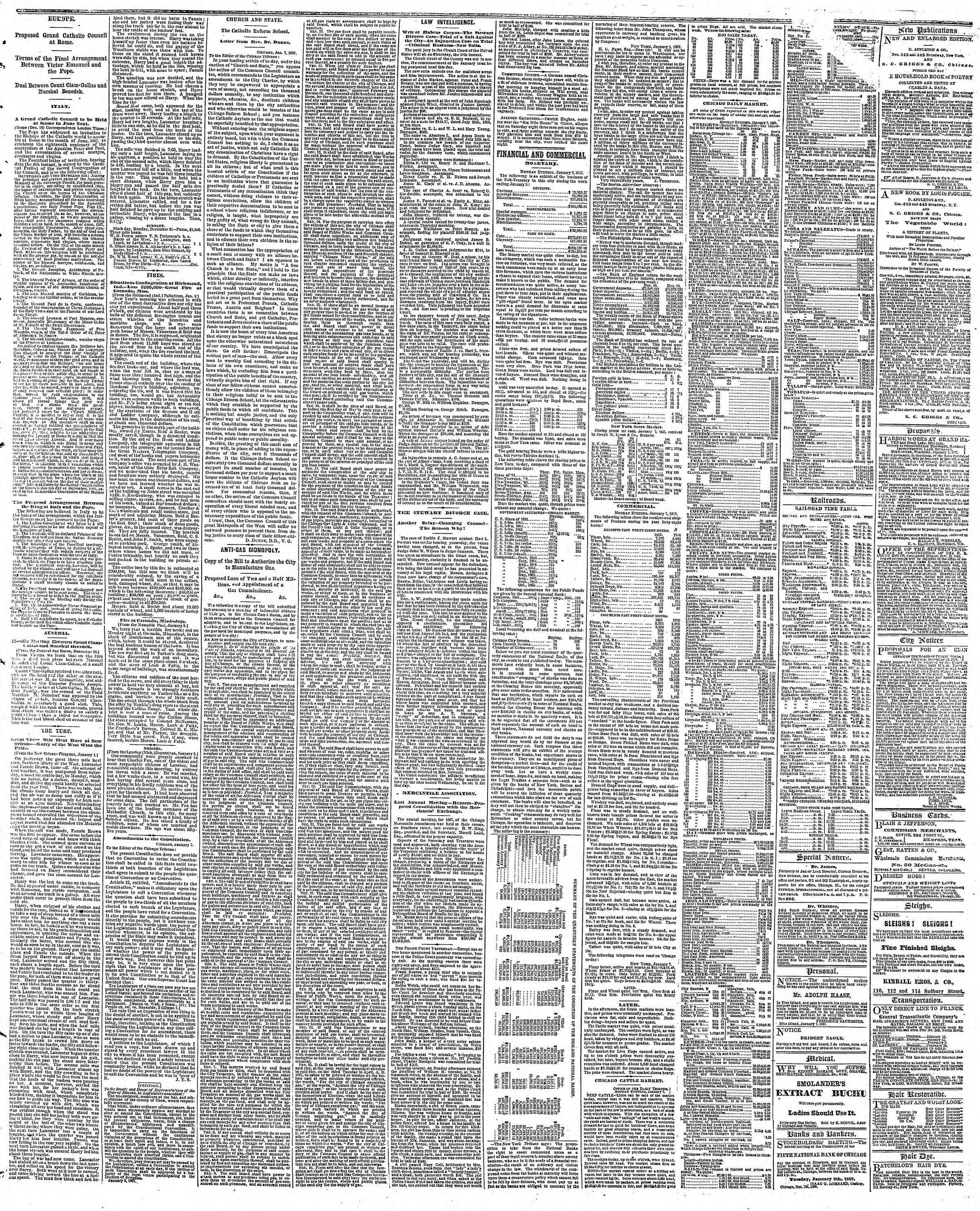 Newspaper of The Chicago Tribune dated January 8, 1867 Page 3