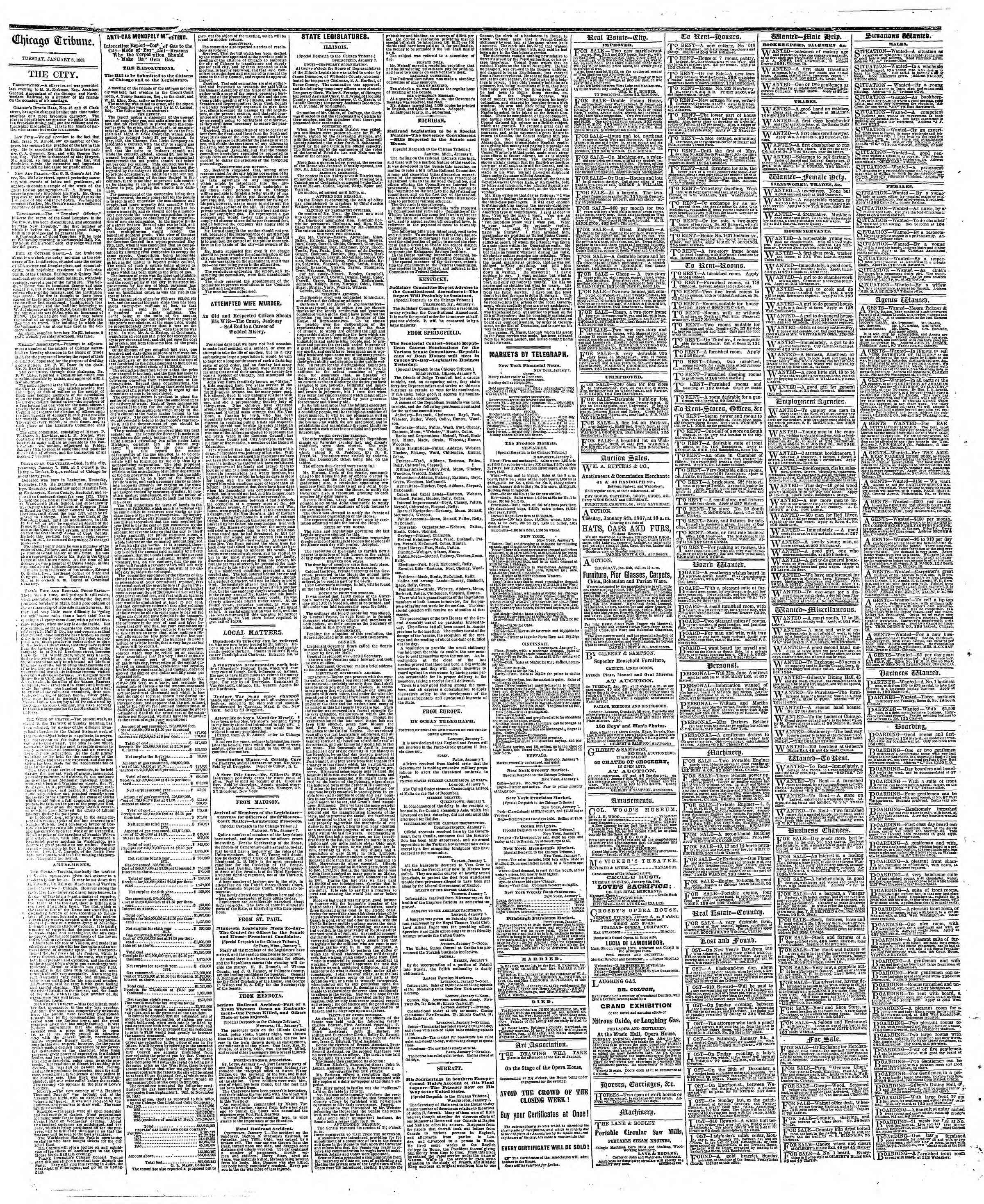 Newspaper of The Chicago Tribune dated January 8, 1867 Page 4