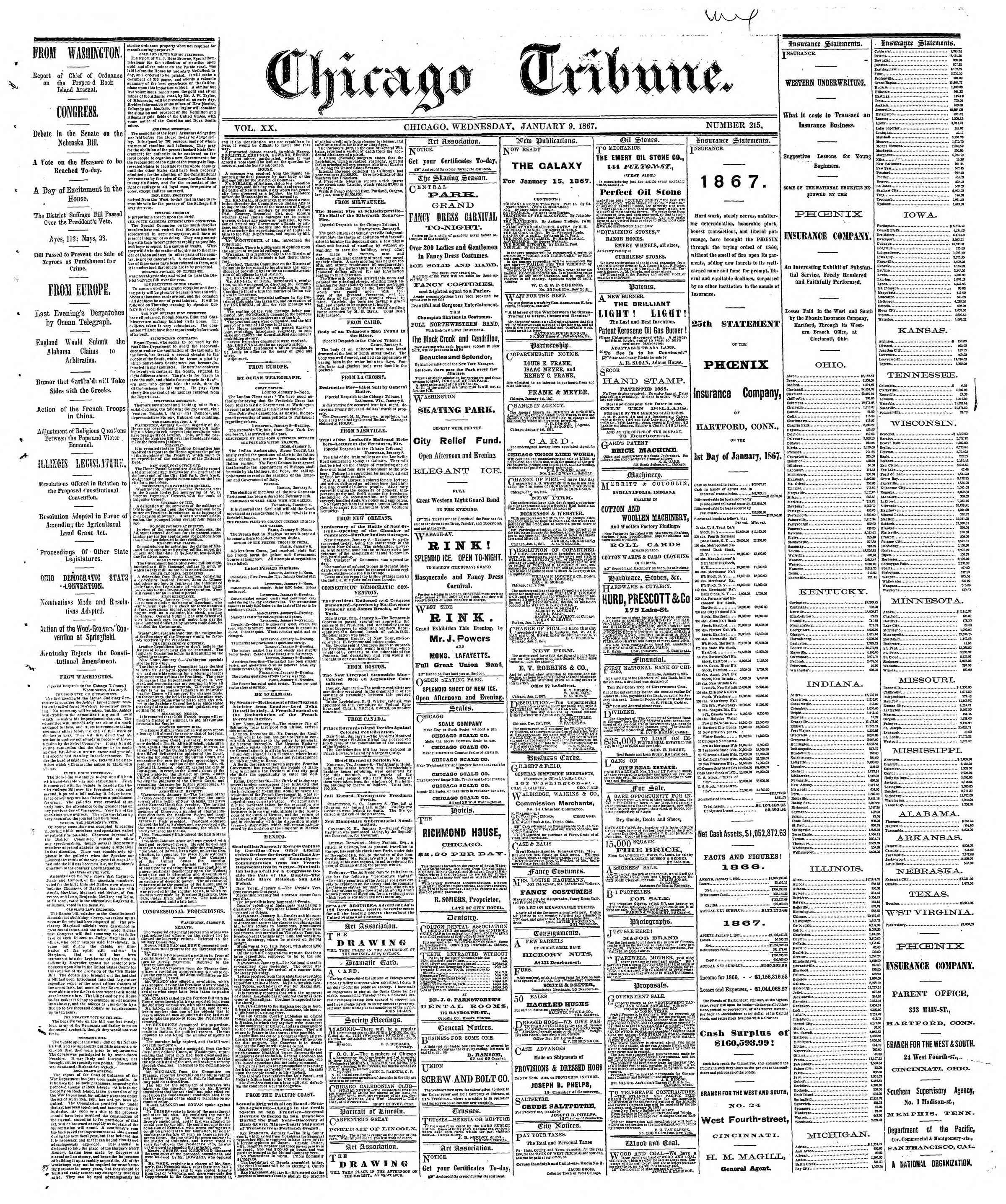 Newspaper of The Chicago Tribune dated January 9, 1867 Page 1
