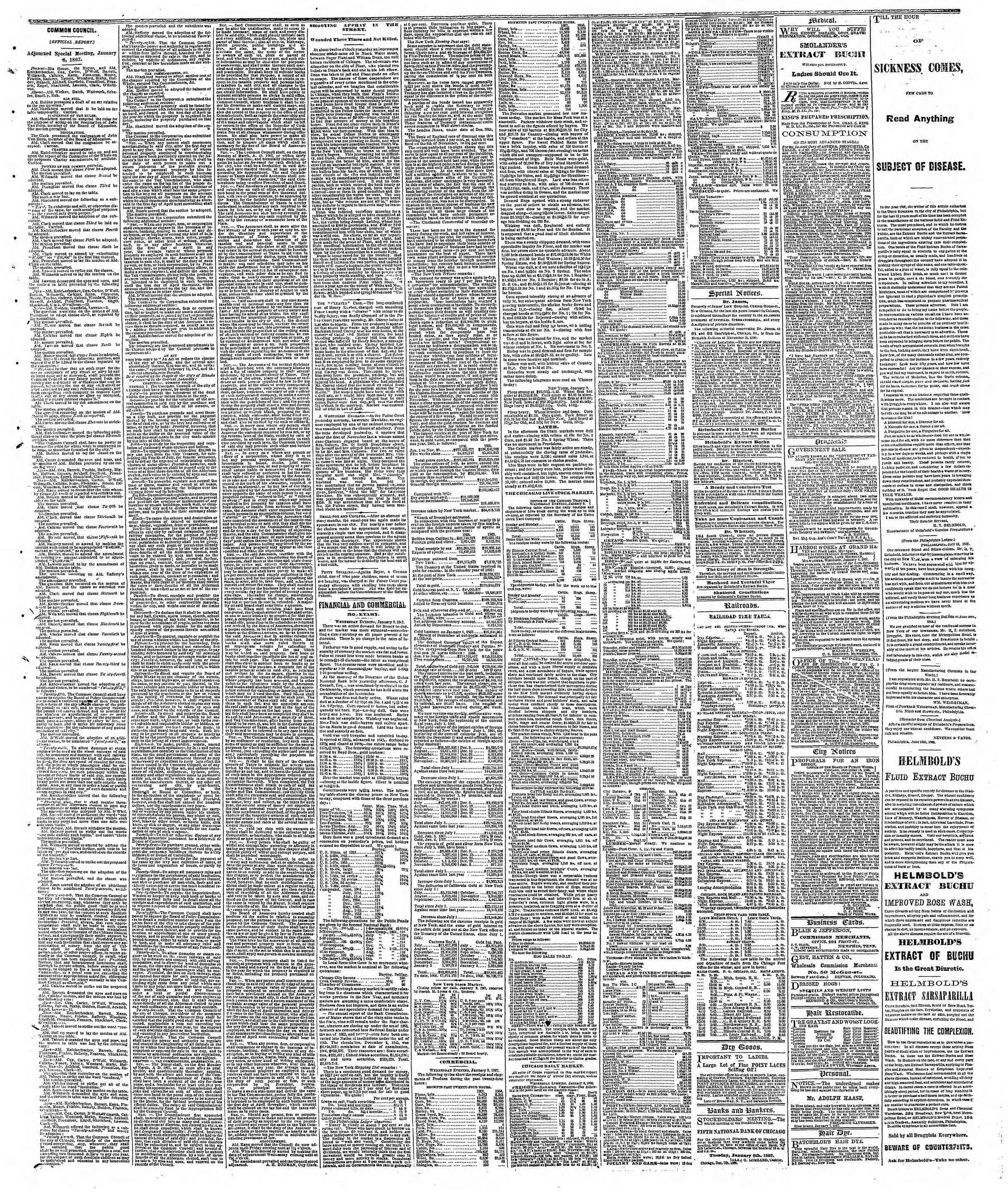 Newspaper of The Chicago Tribune dated January 10, 1867 Page 3