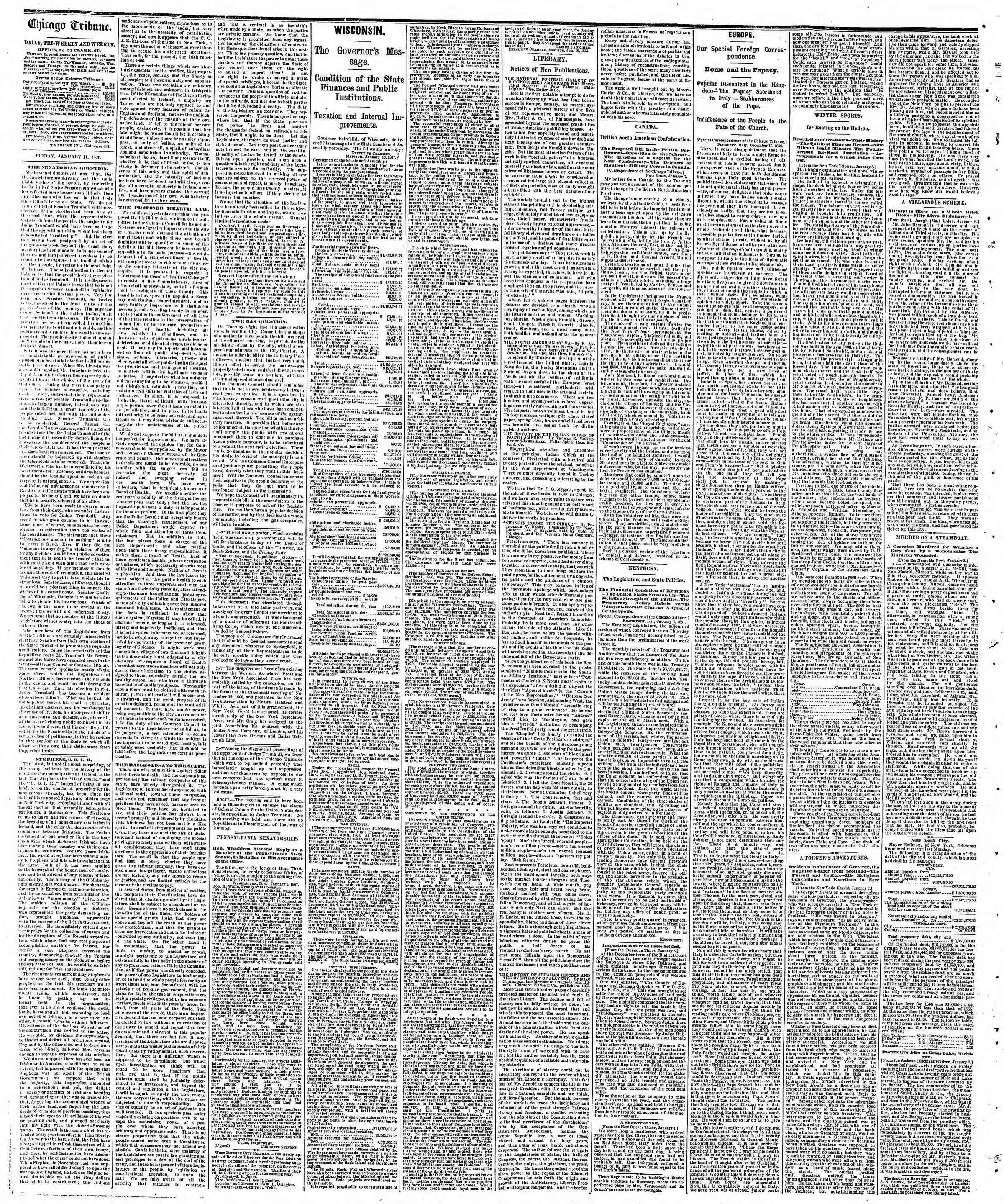 Newspaper of The Chicago Tribune dated January 11, 1867 Page 2