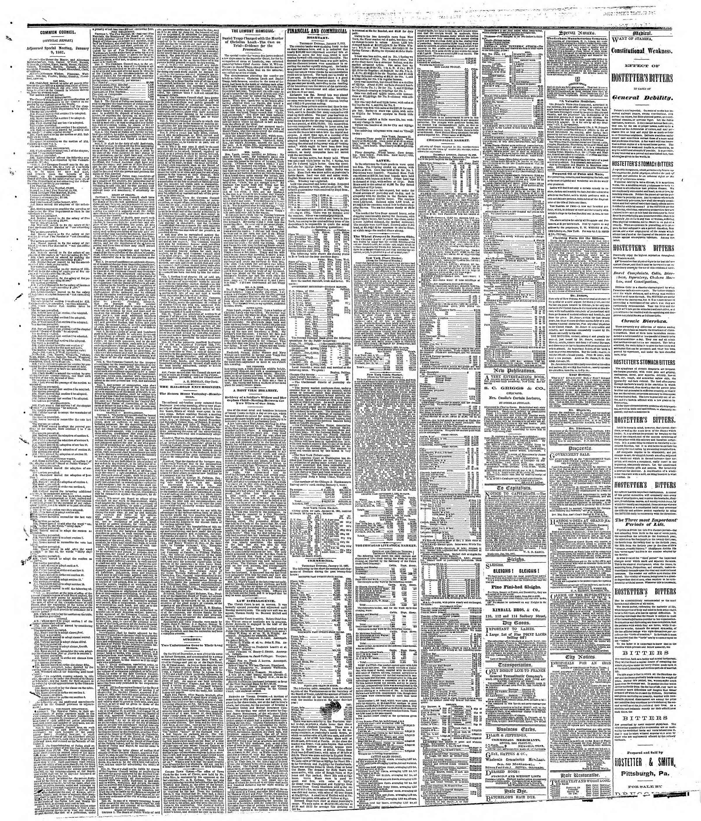 Newspaper of The Chicago Tribune dated January 11, 1867 Page 3