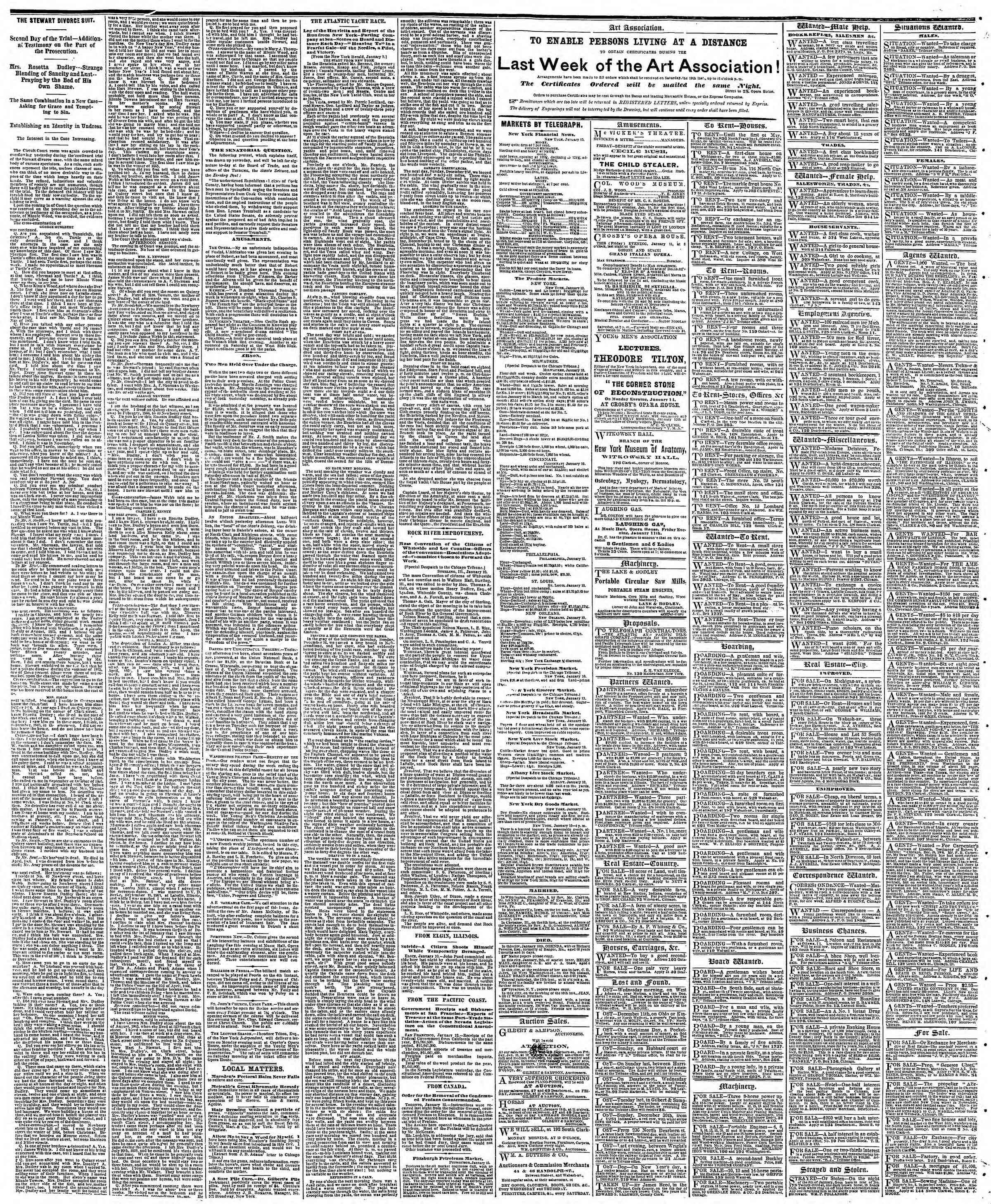 Newspaper of The Chicago Tribune dated January 11, 1867 Page 4