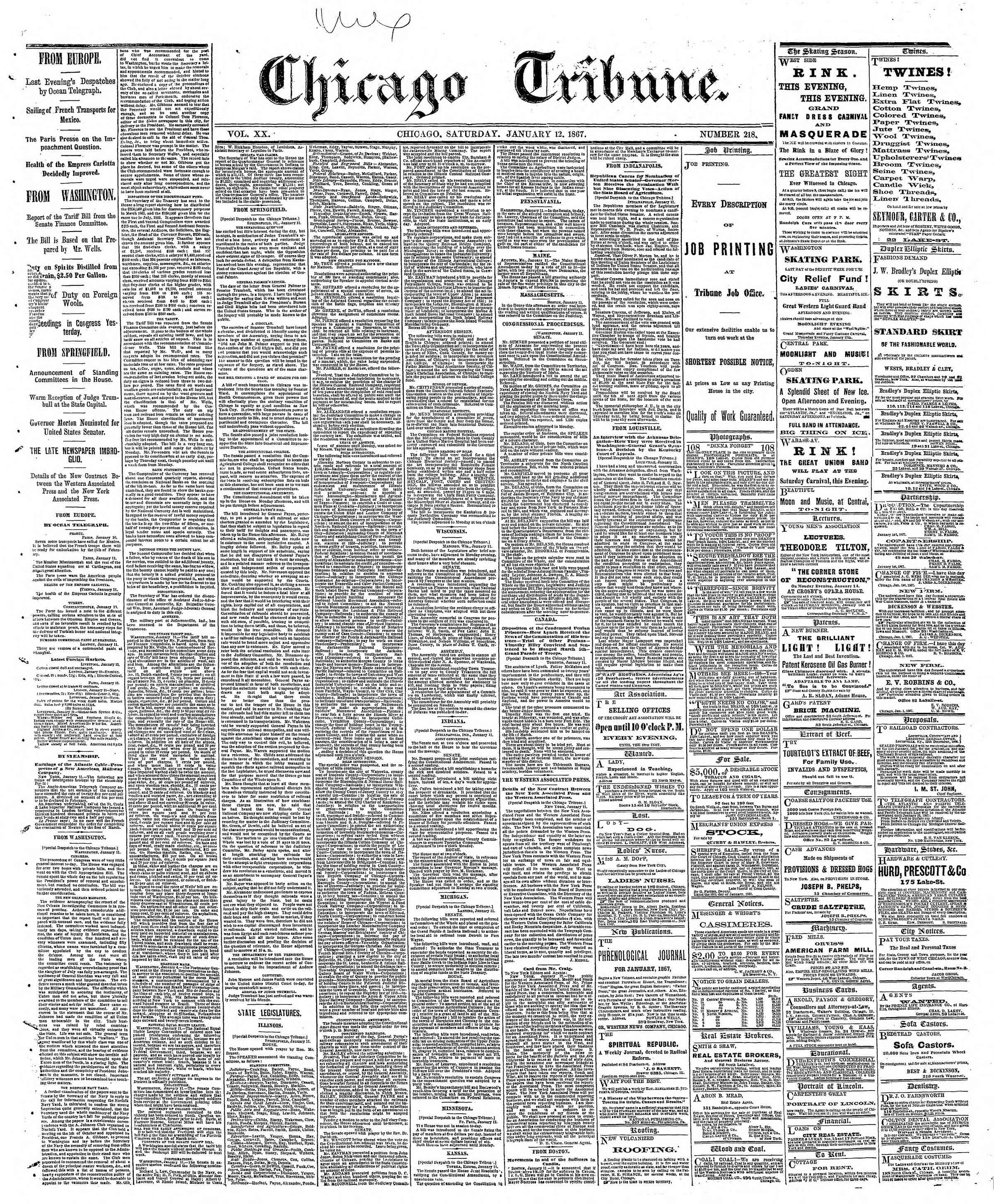 Newspaper of The Chicago Tribune dated January 12, 1867 Page 1