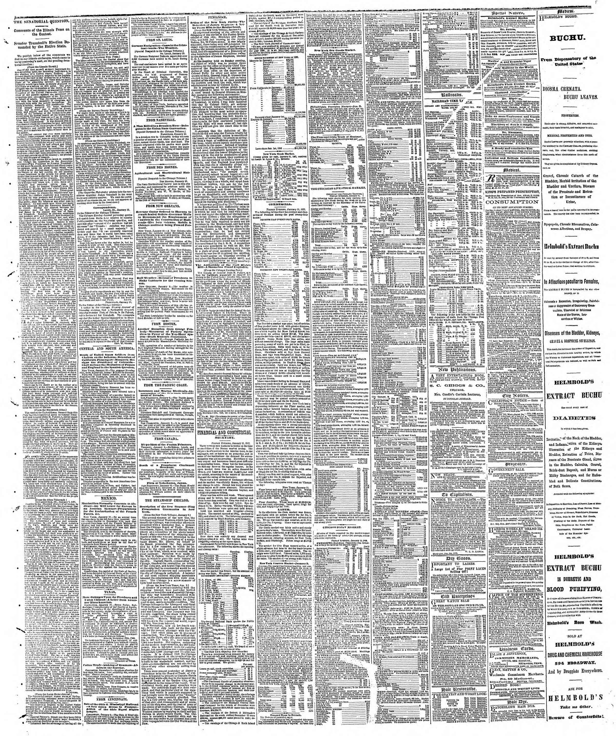 Newspaper of The Chicago Tribune dated January 12, 1867 Page 3