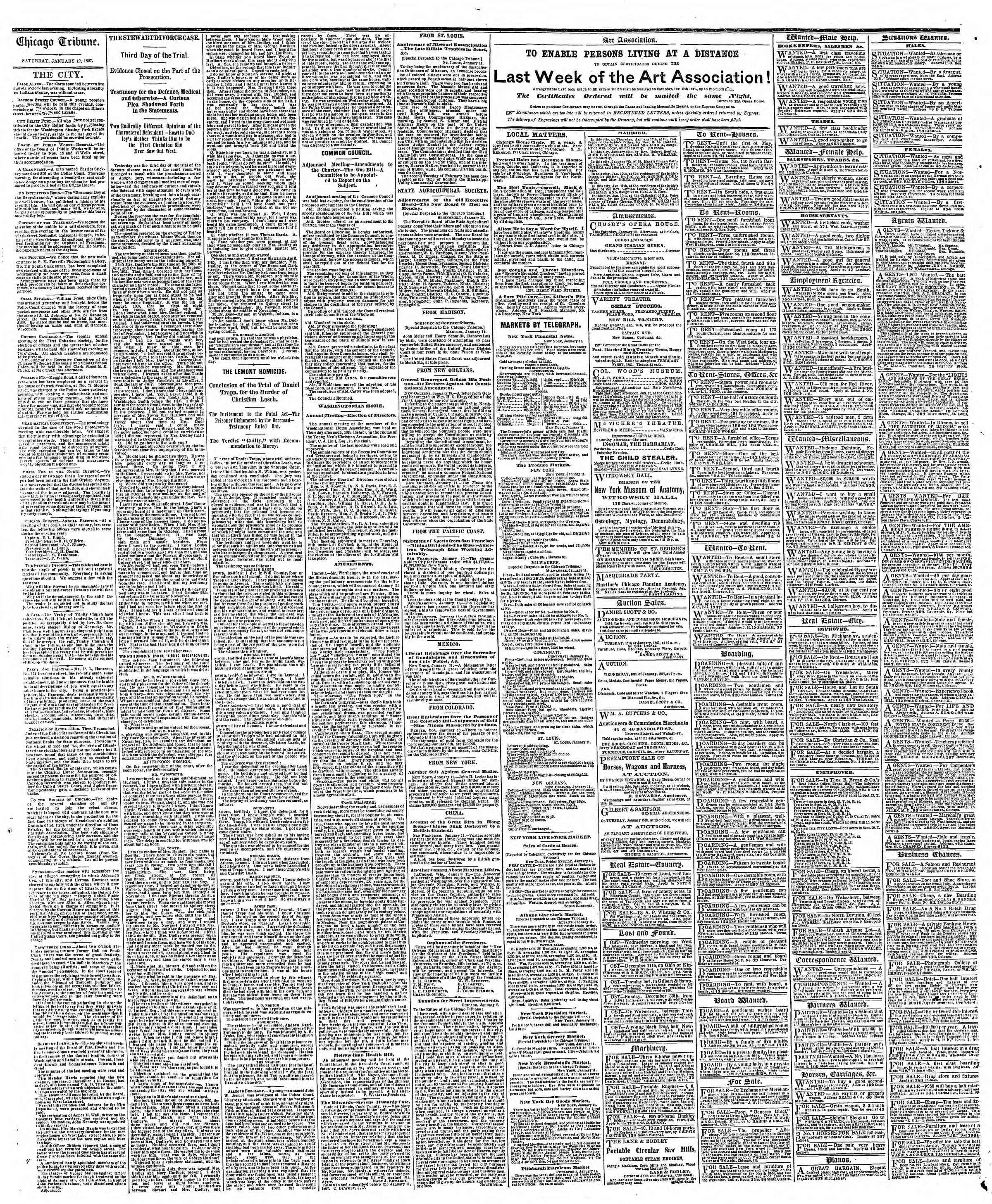 Newspaper of The Chicago Tribune dated January 12, 1867 Page 4