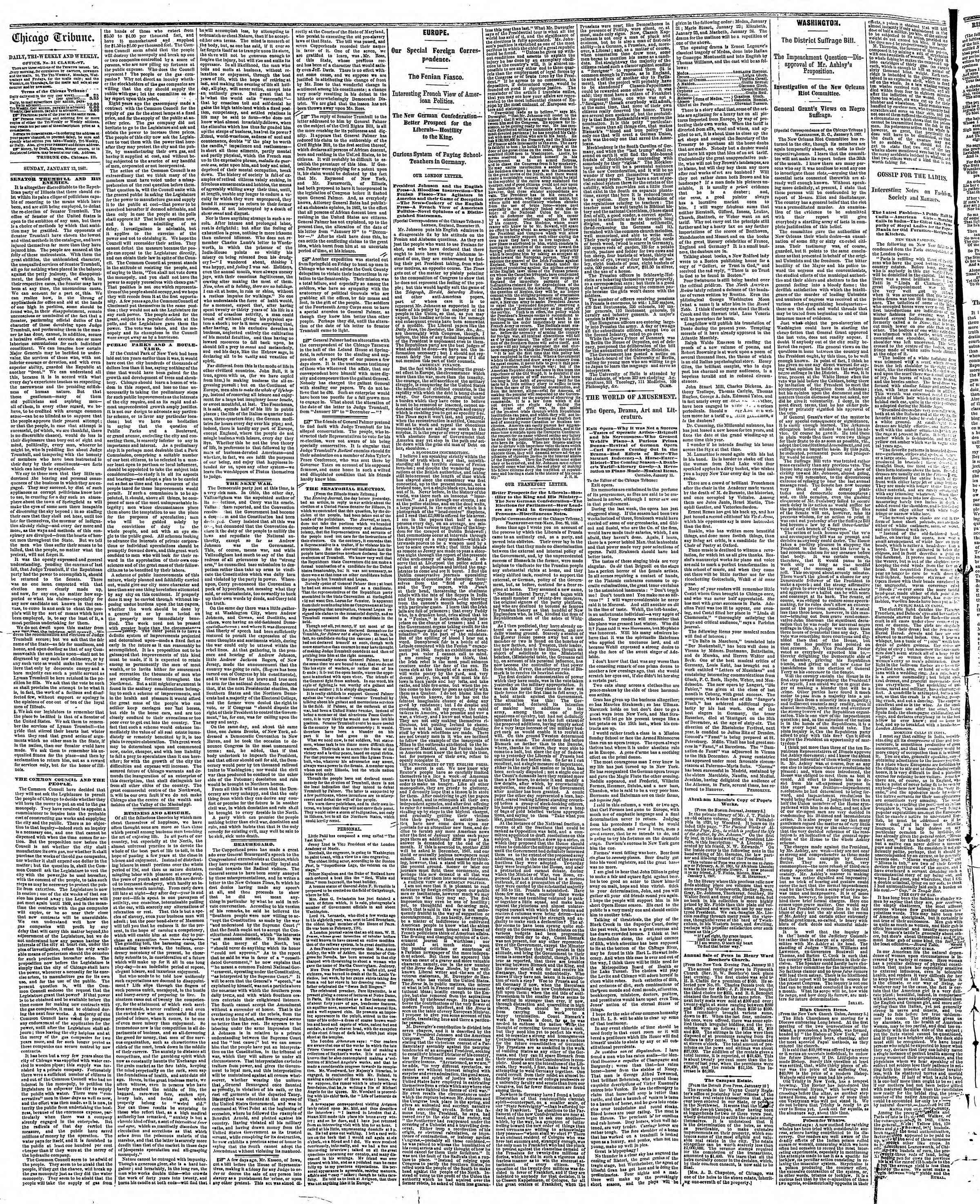 Newspaper of The Chicago Tribune dated January 13, 1867 Page 2
