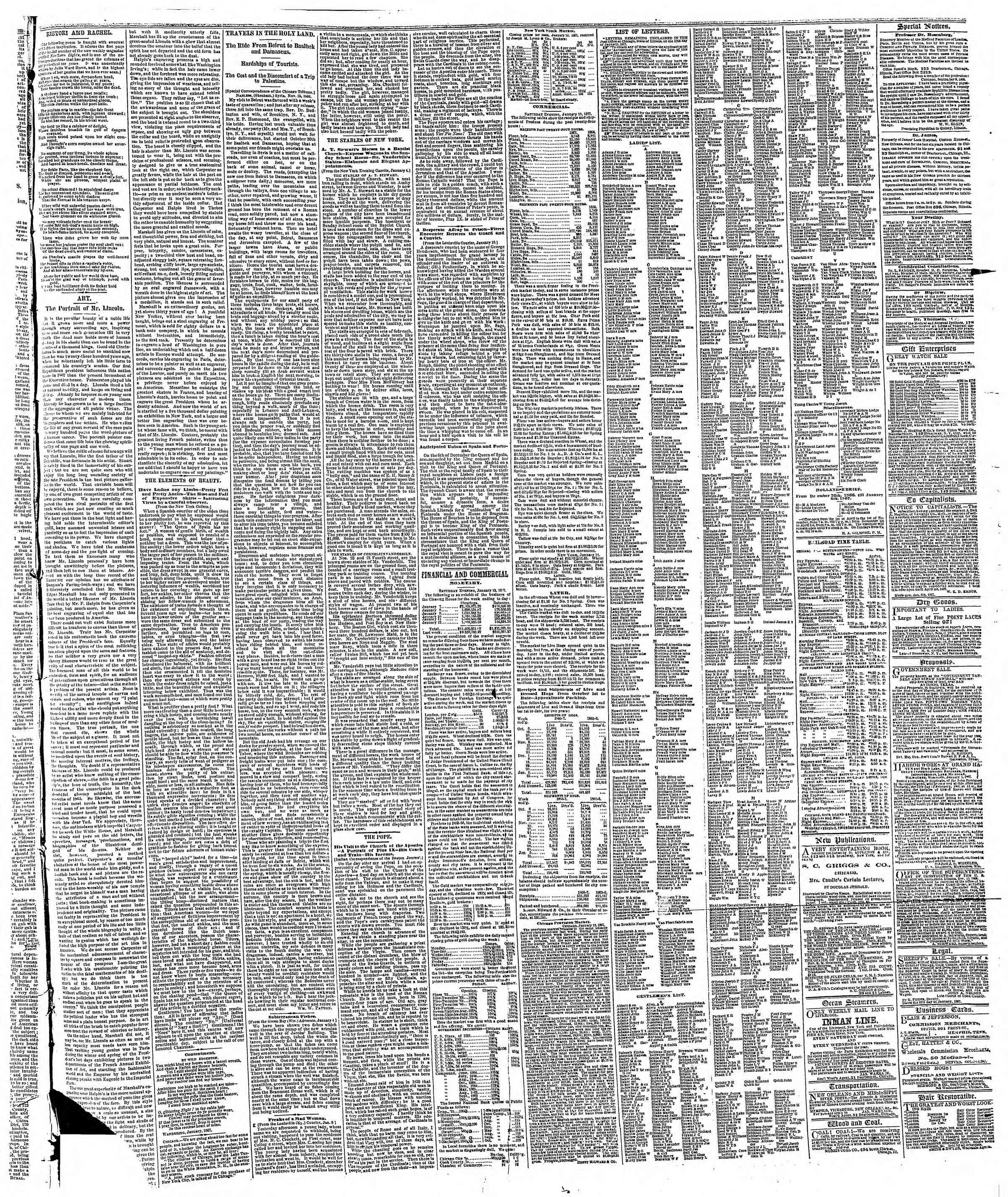 Newspaper of The Chicago Tribune dated January 13, 1867 Page 3