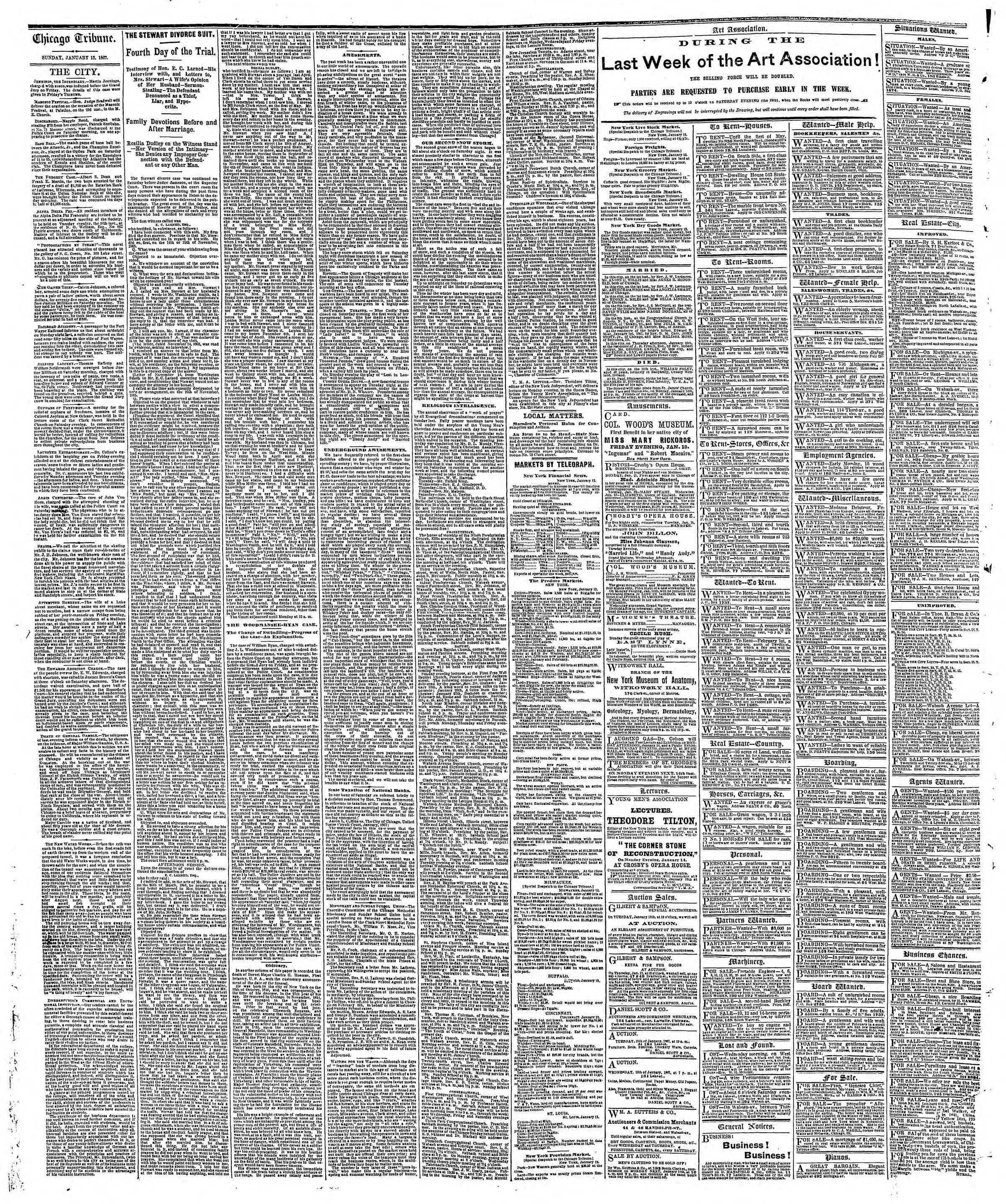 Newspaper of The Chicago Tribune dated January 13, 1867 Page 4