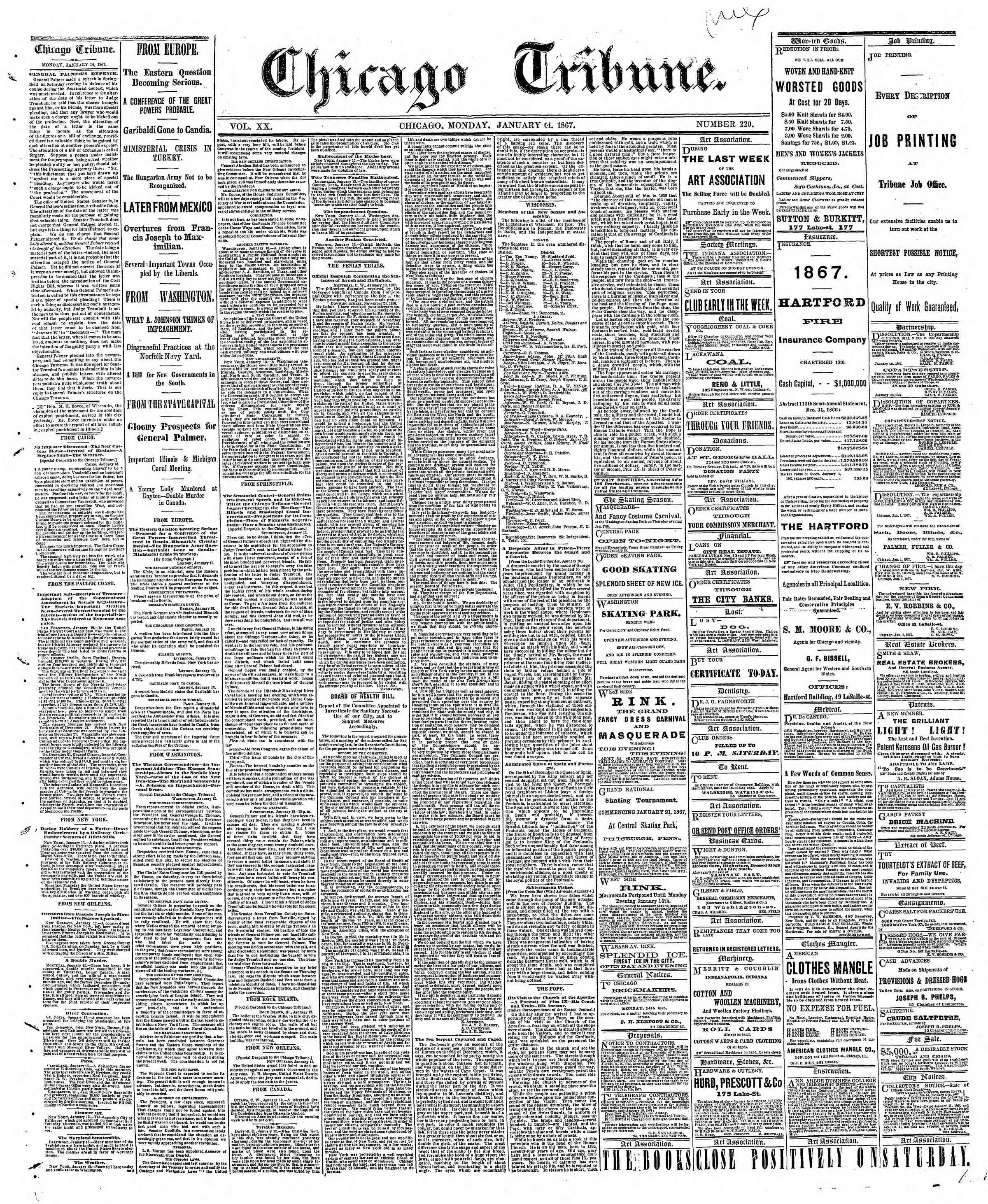 Newspaper of The Chicago Tribune dated January 14, 1867 Page 1
