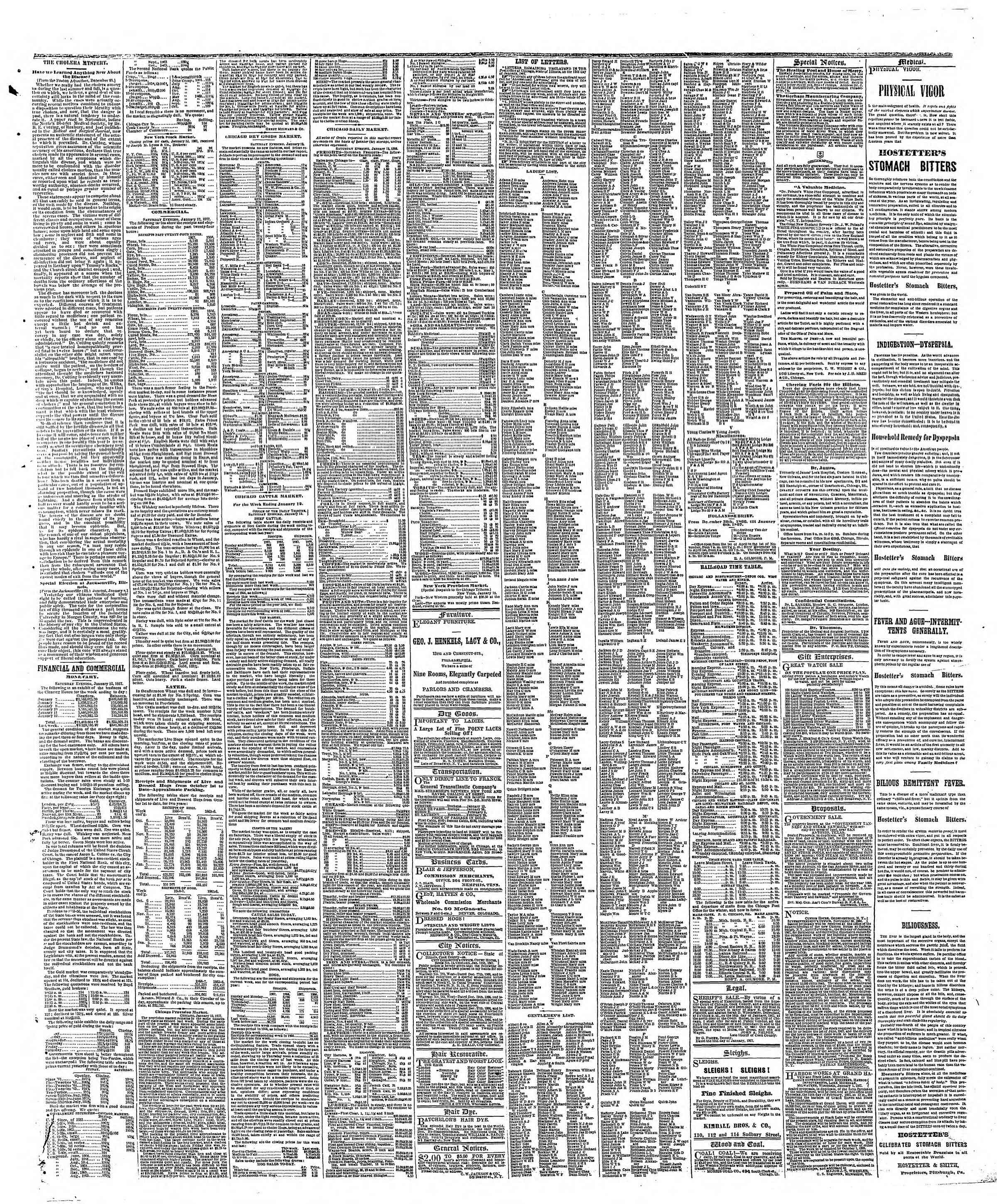 Newspaper of The Chicago Tribune dated January 14, 1867 Page 3