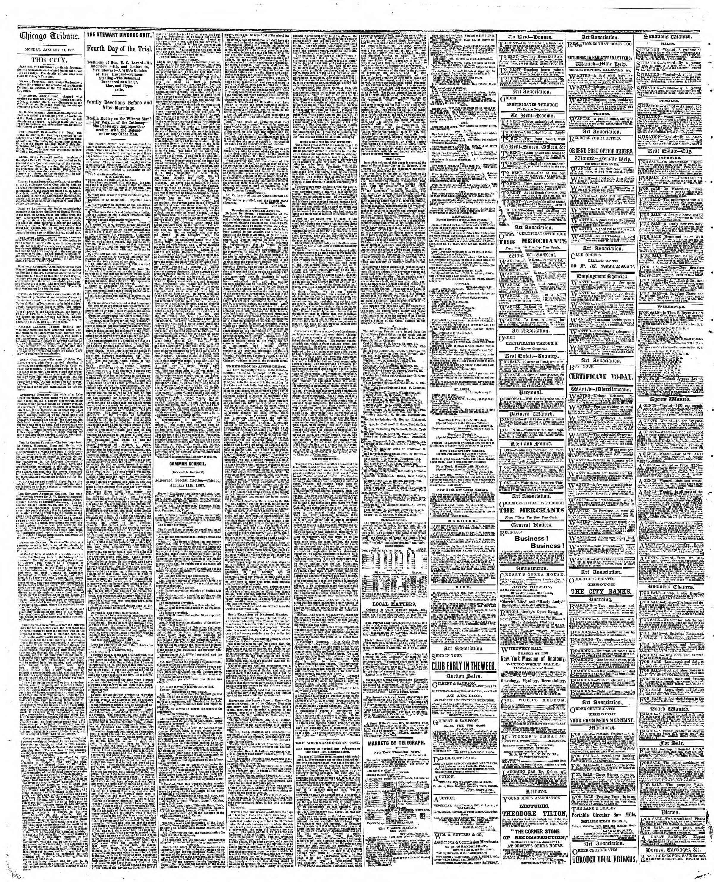 Newspaper of The Chicago Tribune dated January 14, 1867 Page 4