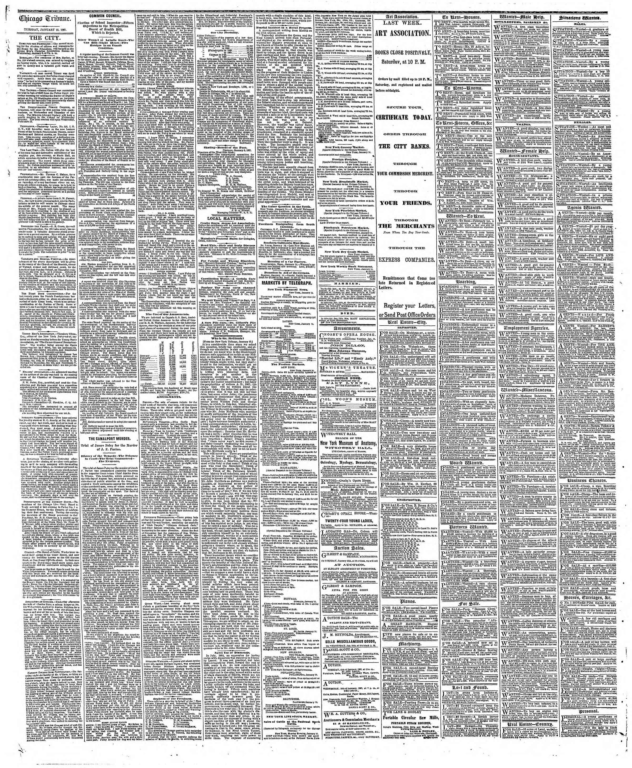Newspaper of The Chicago Tribune dated January 15, 1867 Page 4