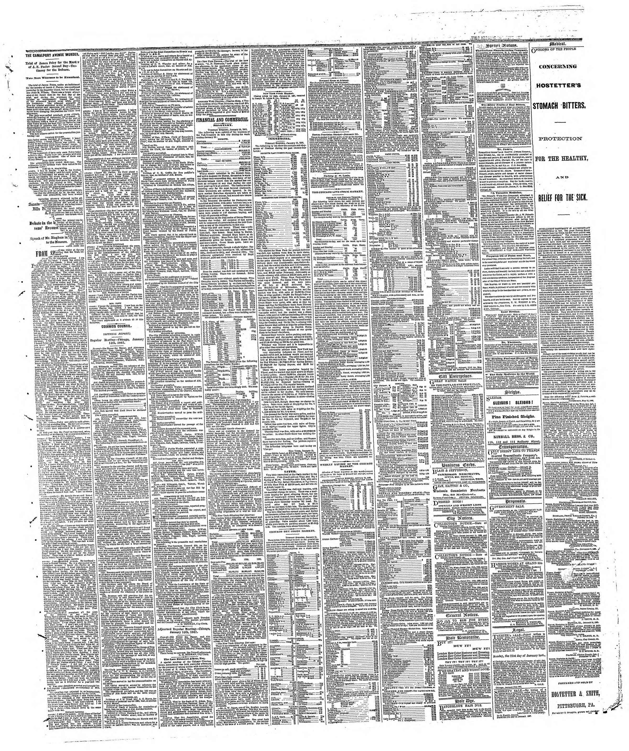 Newspaper of The Chicago Tribune dated January 16, 1867 Page 3