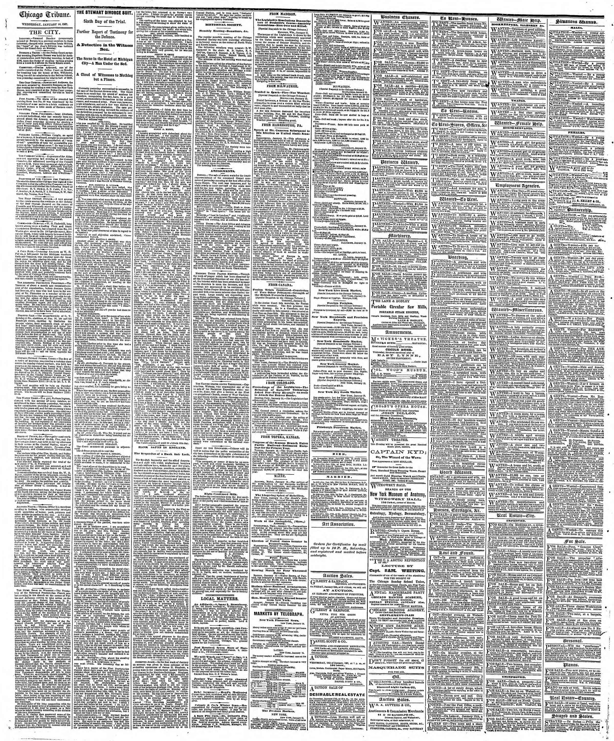 Newspaper of The Chicago Tribune dated January 16, 1867 Page 4